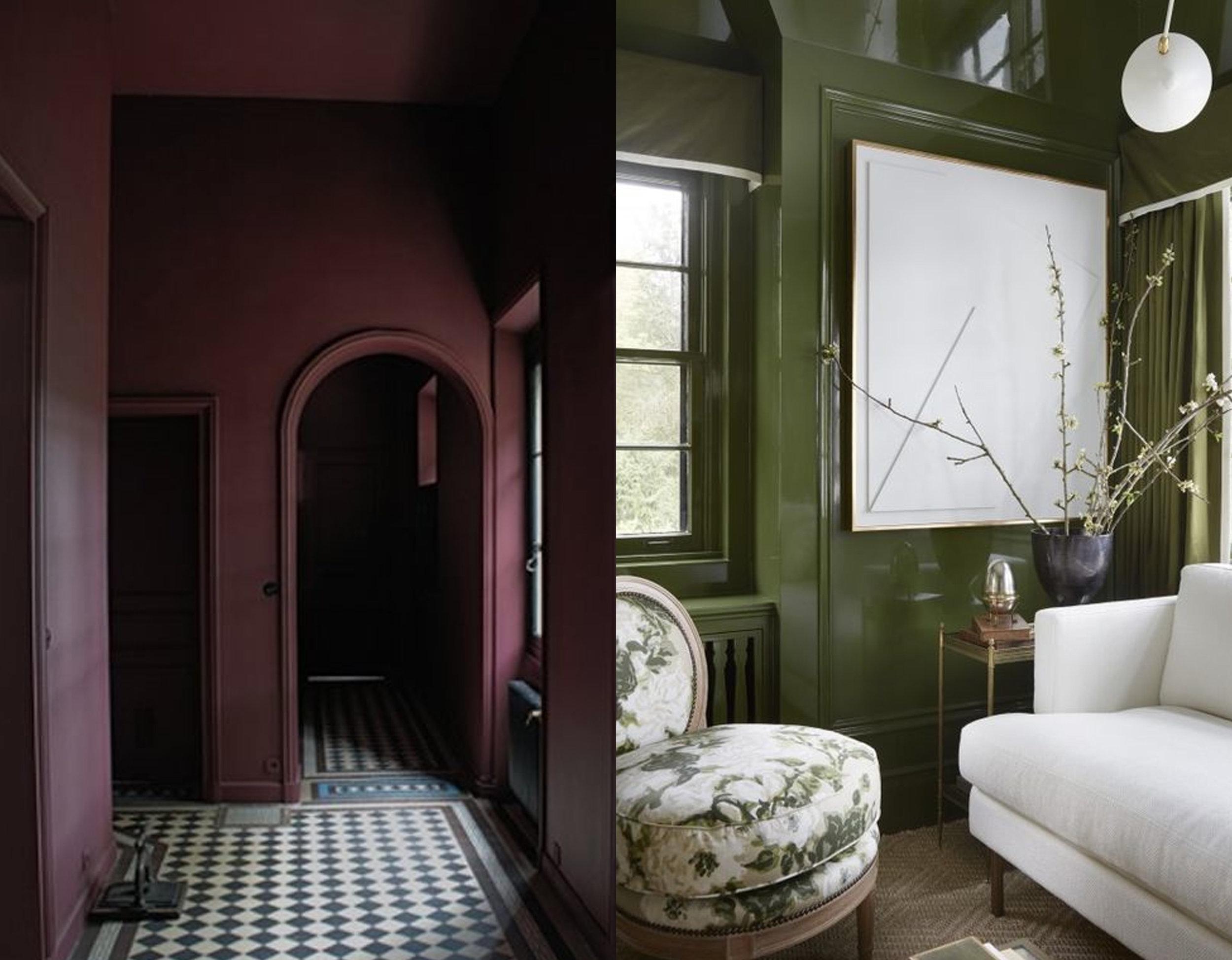 Mat versus glossy:dark interior via  Pinterest  - glossy interior via  Marie Flanigan