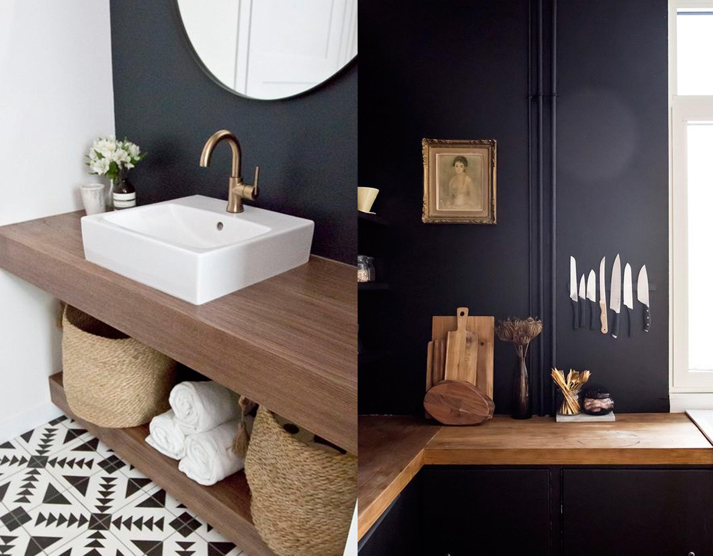 bathroom via  Kristina Lynne  - kitchen via  Pinterest