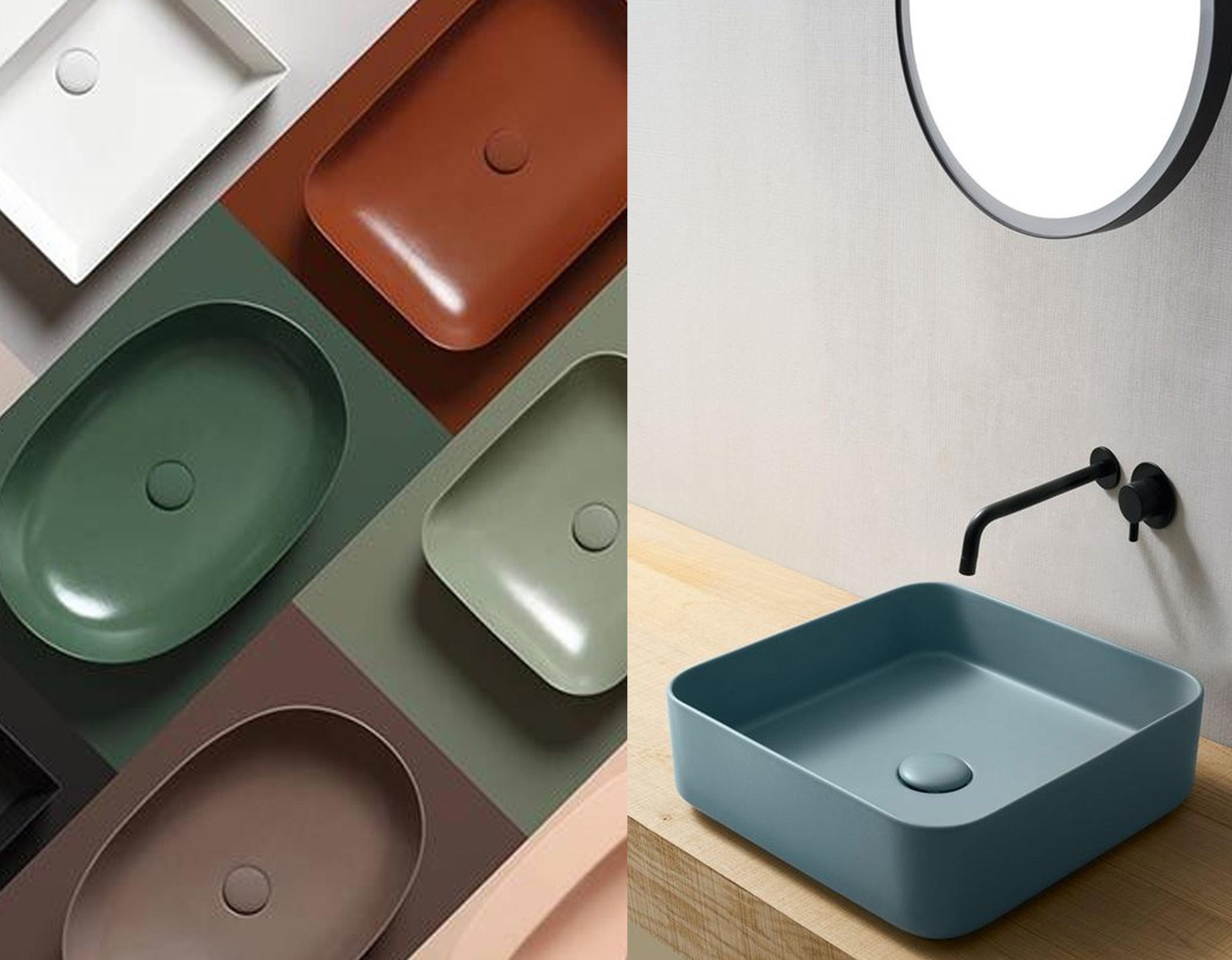washbasin and shelve in same color Colors 125  Azzurra Ceramica  - washbasin Shui  Comfort Cielo