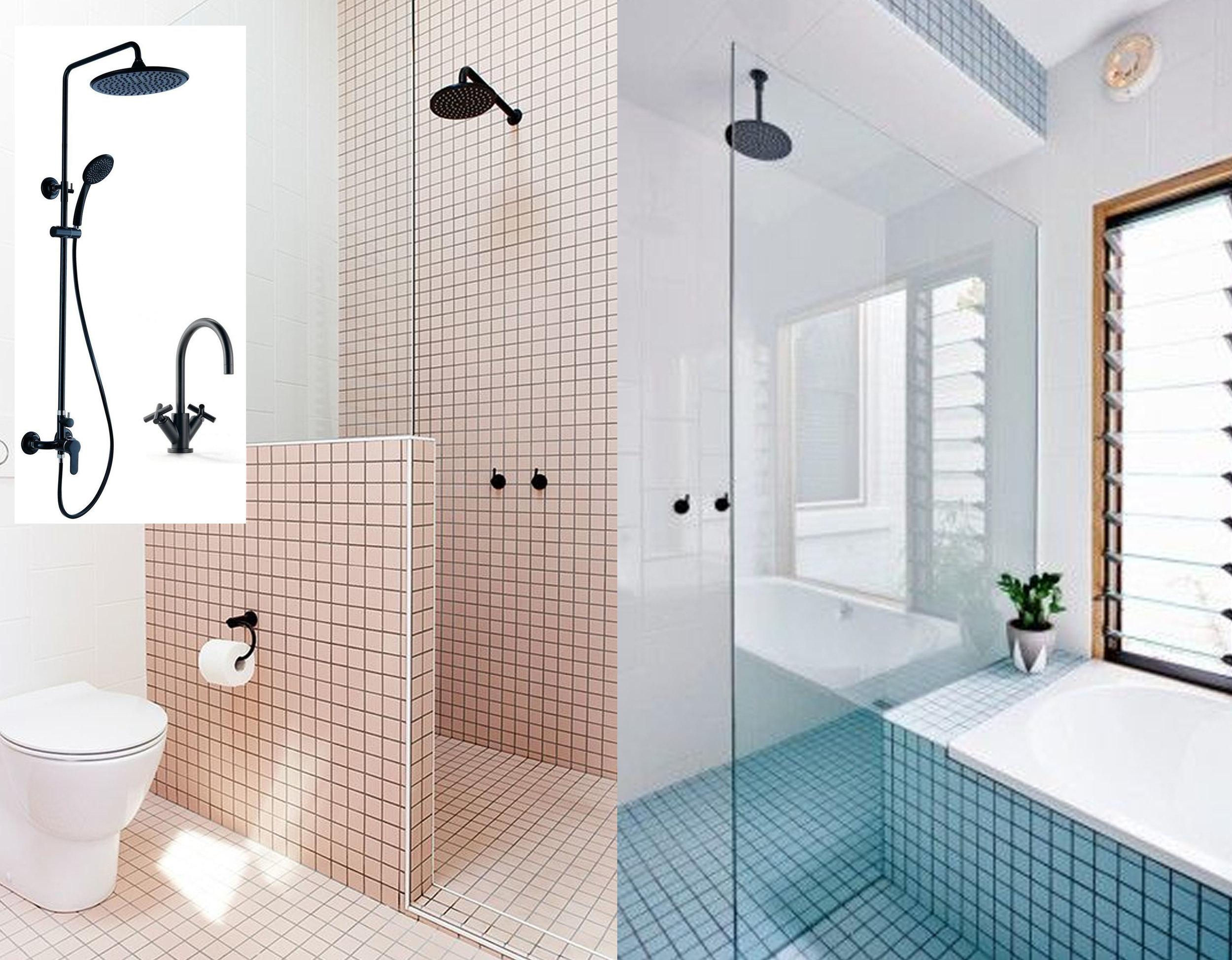 pink bathroom via  Greedy Sunday  - light blue bathroom via  Roomed