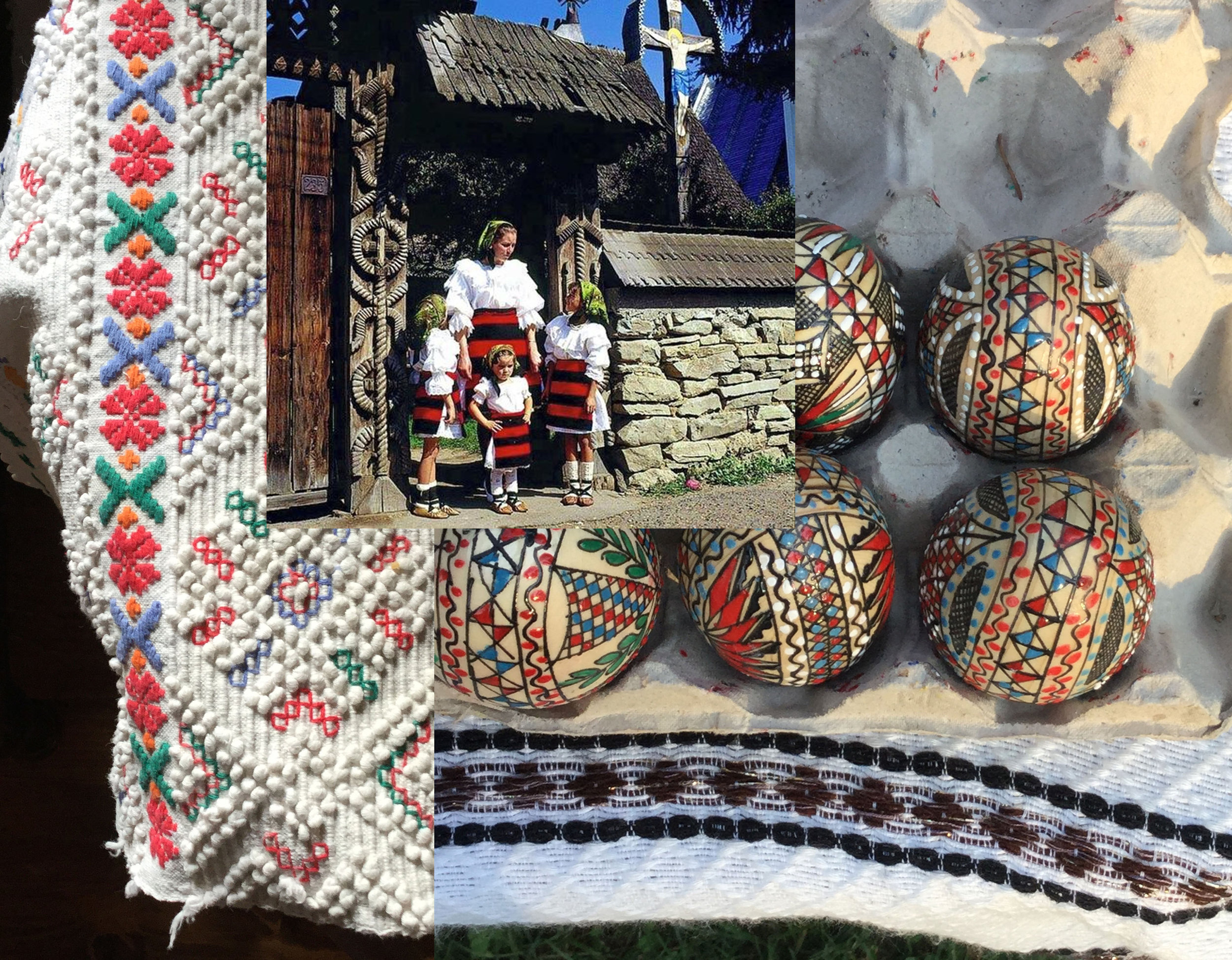 painted eggs - image sculpted entrance door in Maramures via  Facebook