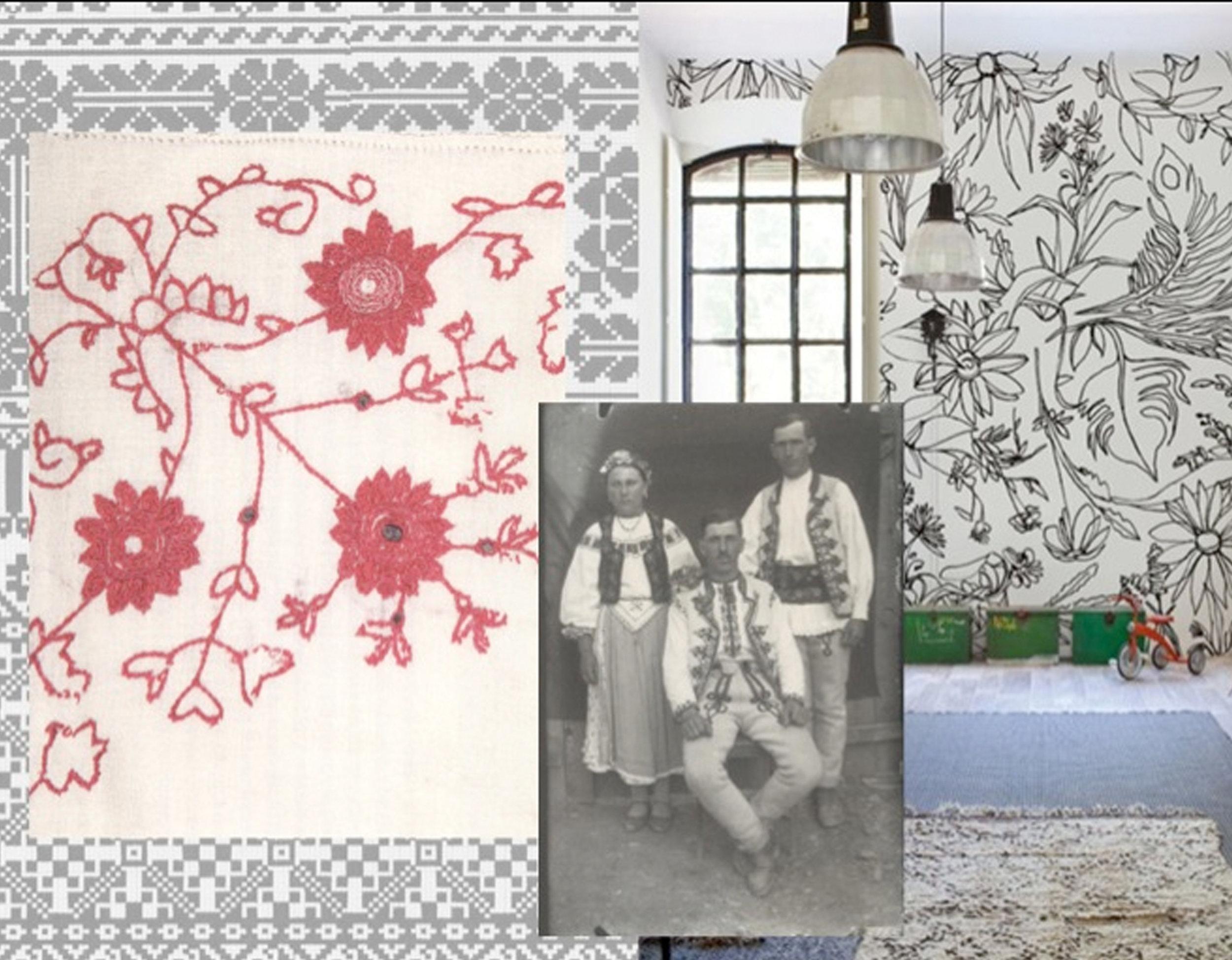 traditional embroidery  Muzeul Taranului Roman as inspiration for mural