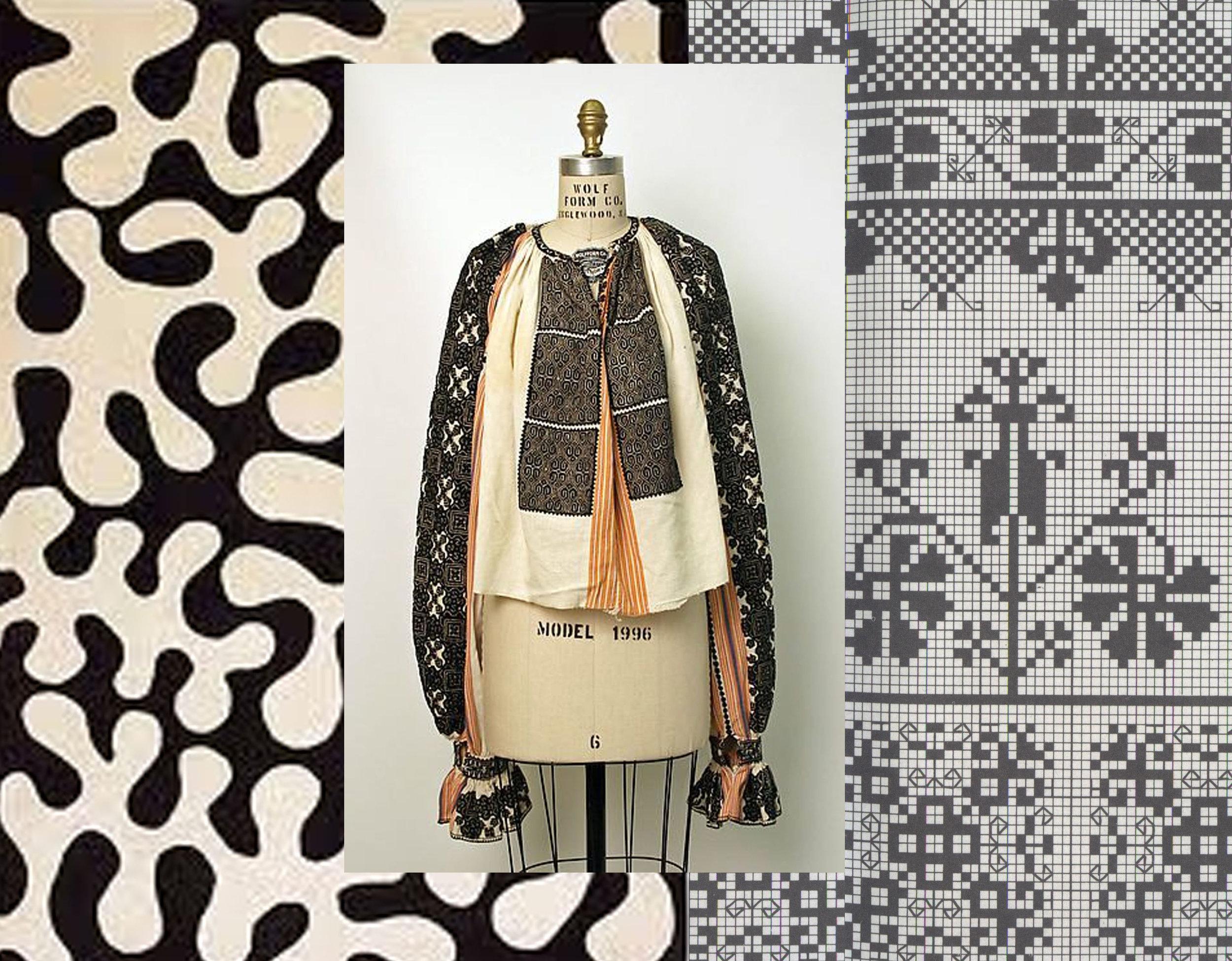 on the left Matisse - Romanian embroidered blouse - embroidery pattern  Muzeul Taranului Roman