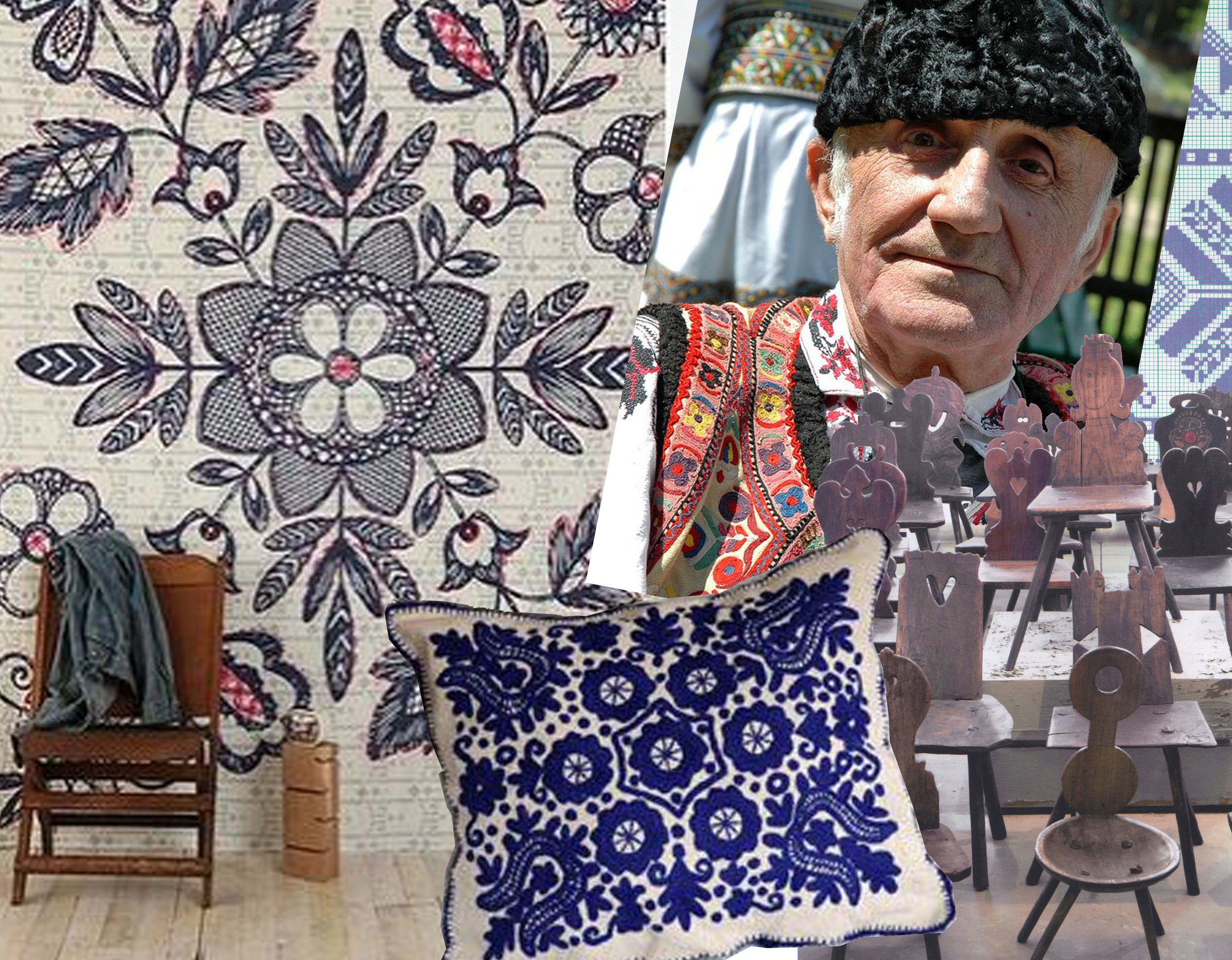 mural - image old man via  Flickr  - wooden chairs  Muzeul Taranului Roman