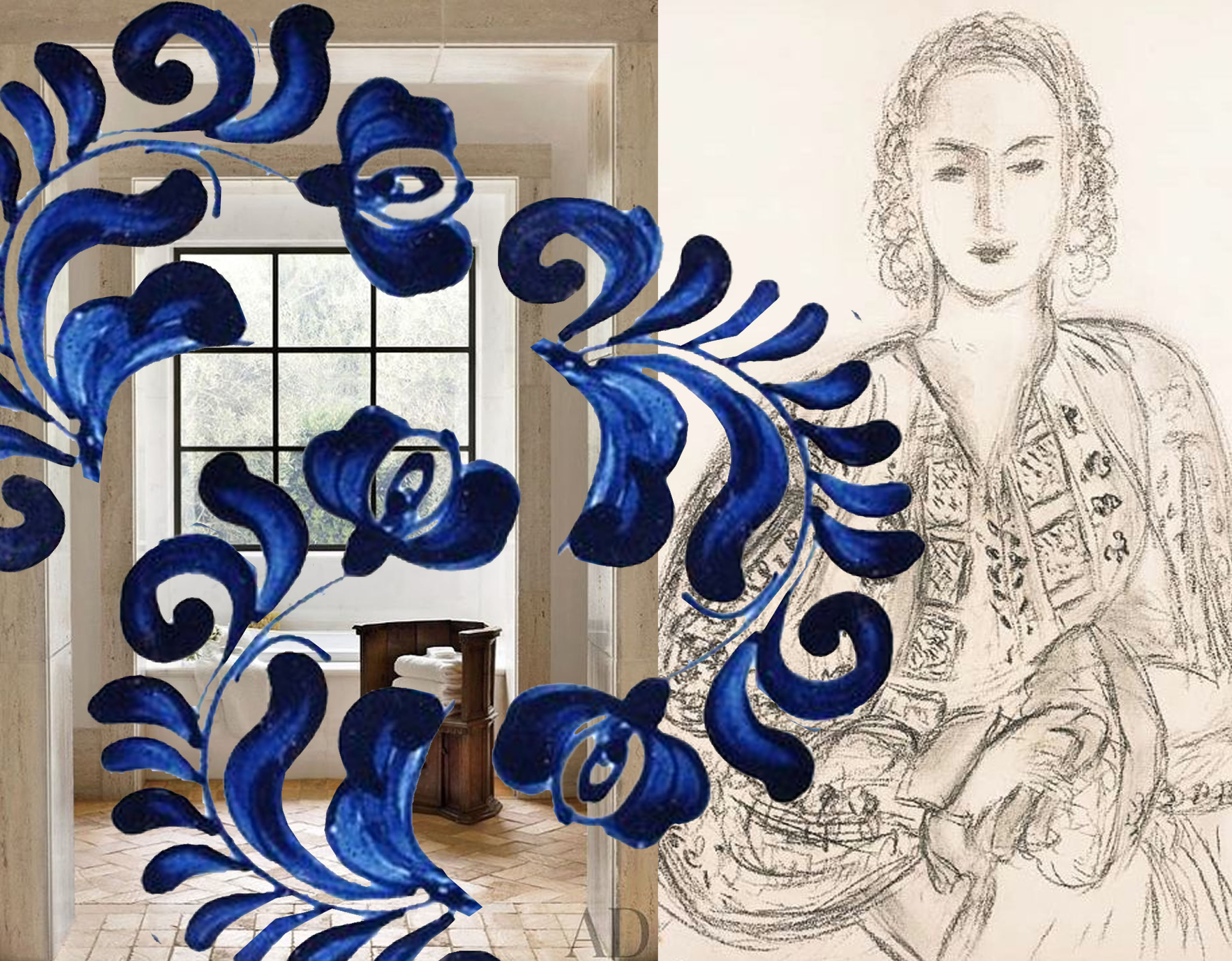 detail from traditional Romanian ceramic - drawing Matisse