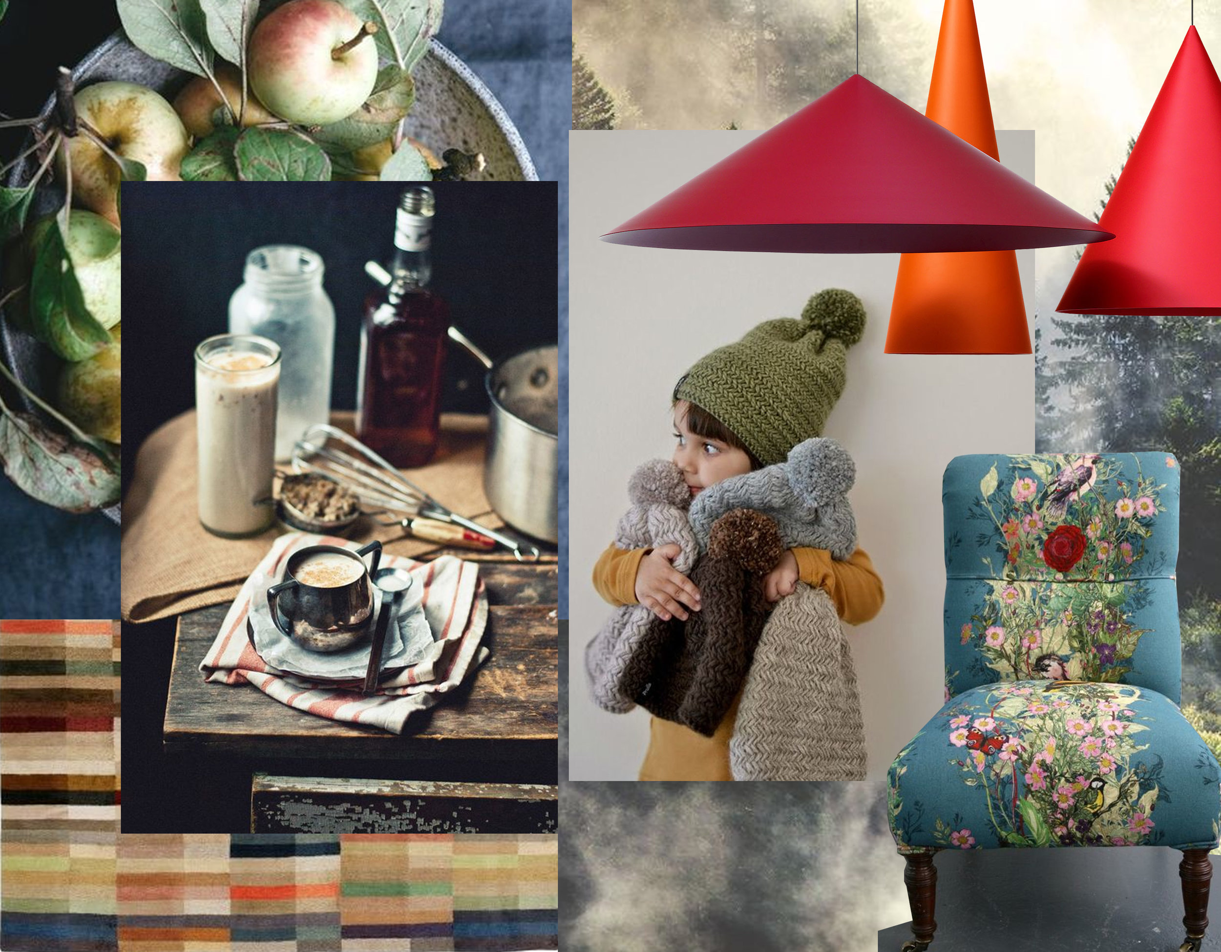 appels via  Cannelle Vanille  - food photography Kelly Brisson via  Great Food Photos - girl with knitted hats  Zezuzulla - rug Spectrum  The Rugcompany  - hanging lamps W151  Claesson Koivisto Rune  - armchair  Timorous Beasties