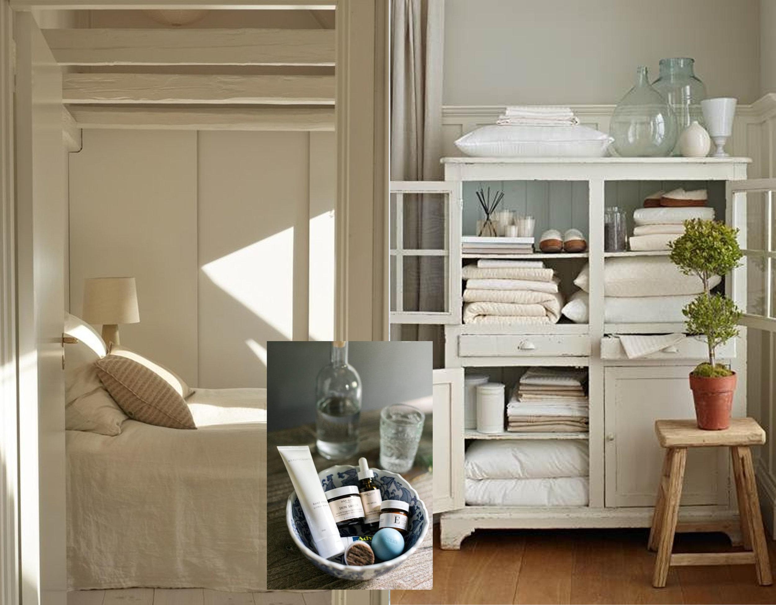 bedroom via  Remodelista  - storage via  Liz Marie  - nightstand essentials via  Waiting on Martha
