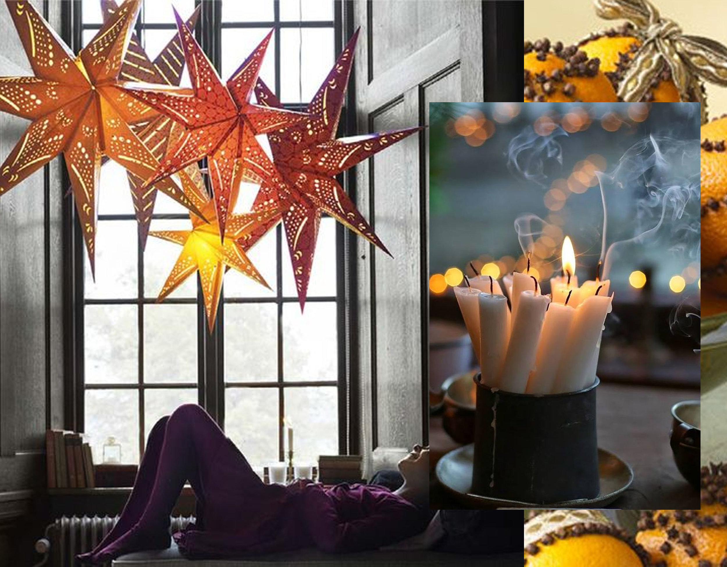 Strala pendant lamp  IKEA  - candles via  Hickory Flat  - oranges via Pinterest