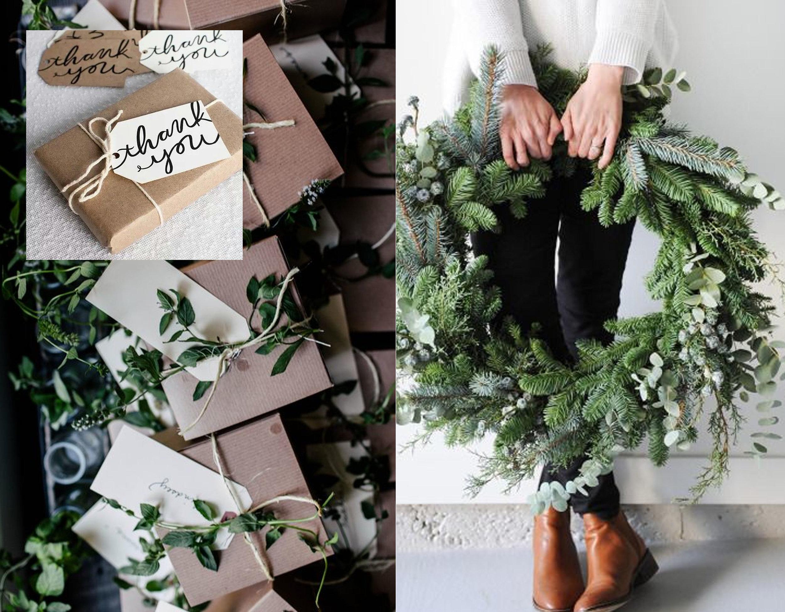 gifts via  Flickr  - wreath via  Bloglovin'