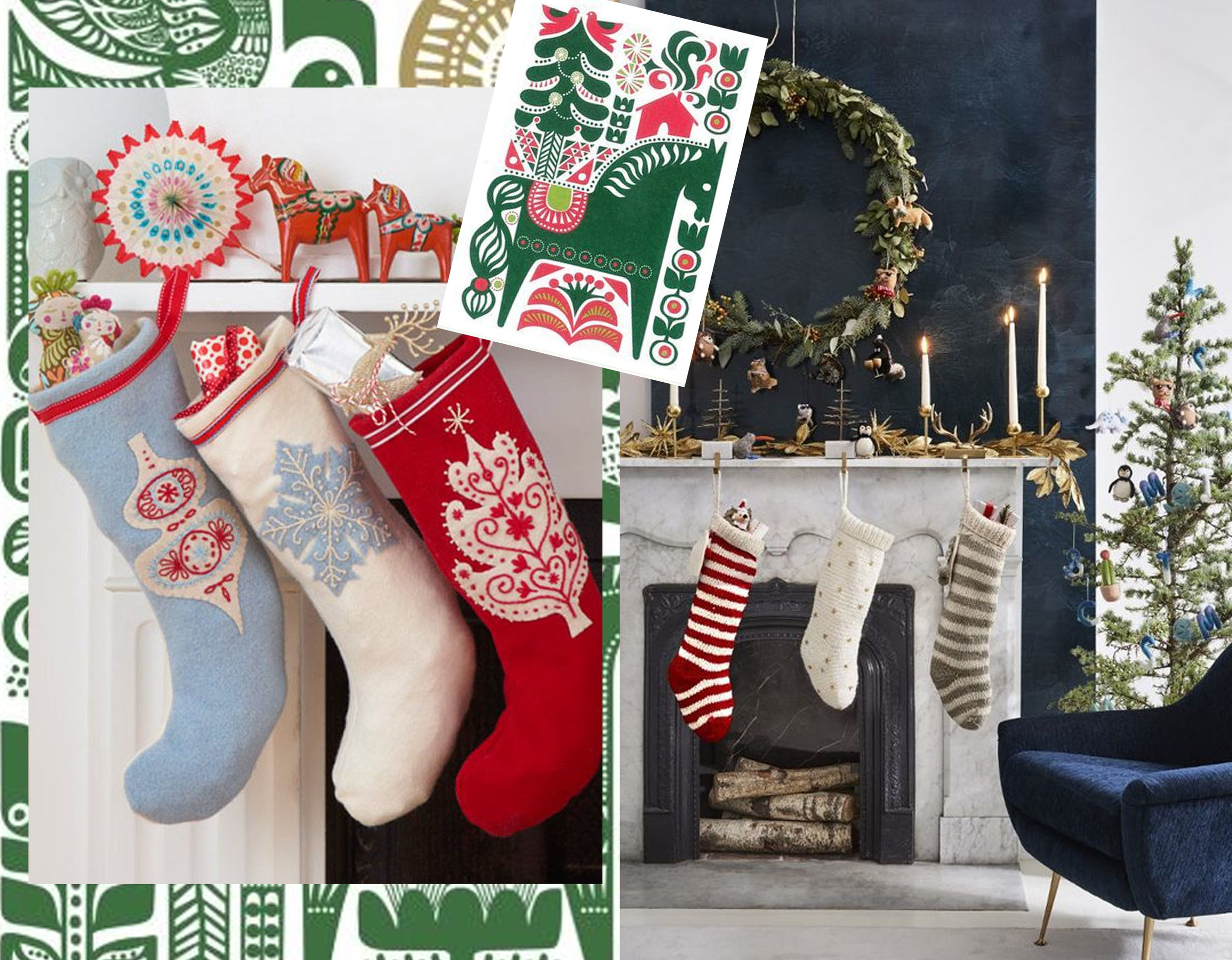 print in back Sanna Annukka via  Animalarium  - stockings via  Achica  - card Sanna annukka & Marimekko via  Windwrinkle  - fireplace via   My Domaine
