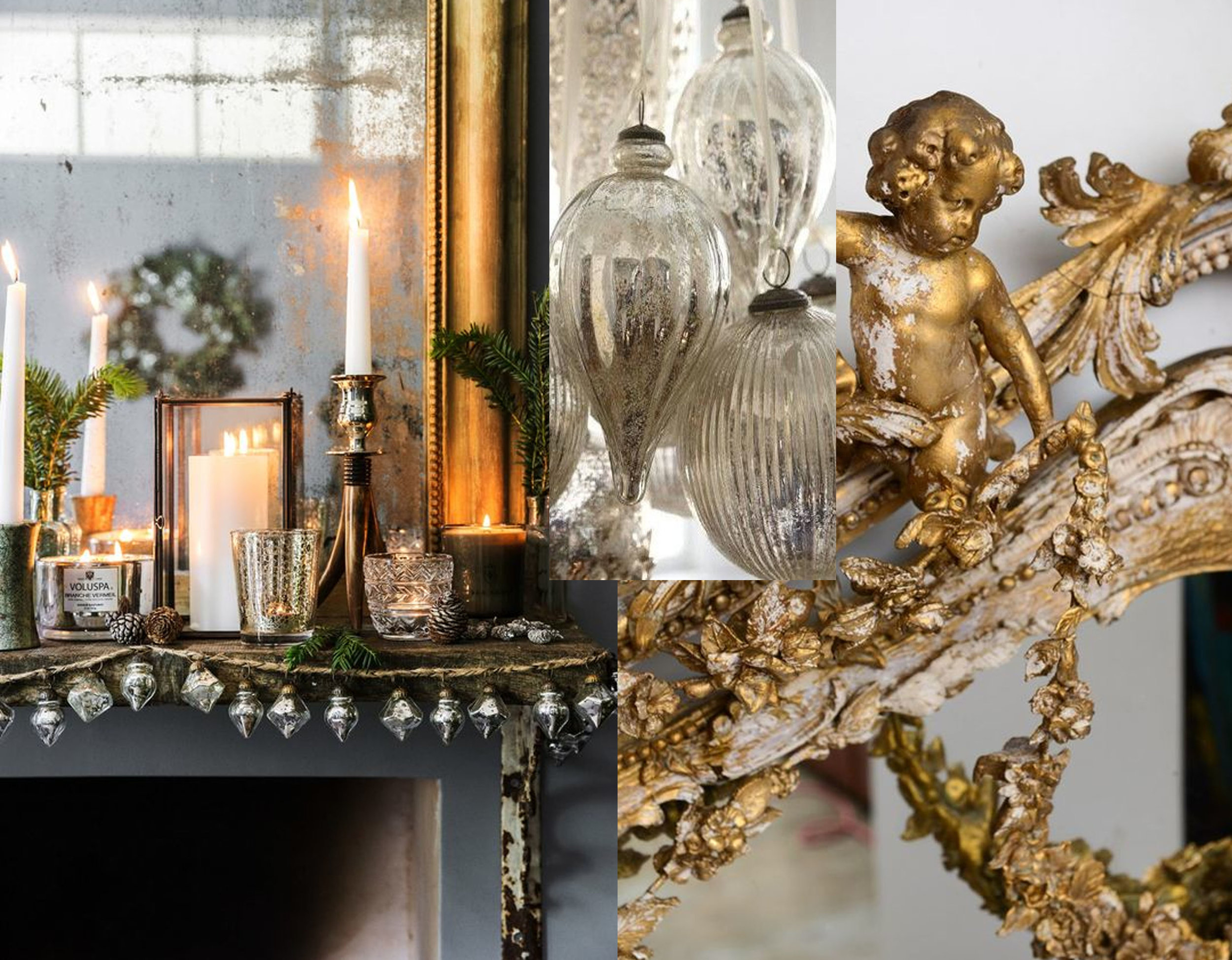 decorated fireplace via  Amara  - mercury glass ornaments  Amazon  - ornate gilt mirror via  Zsa Zsa Bellagio