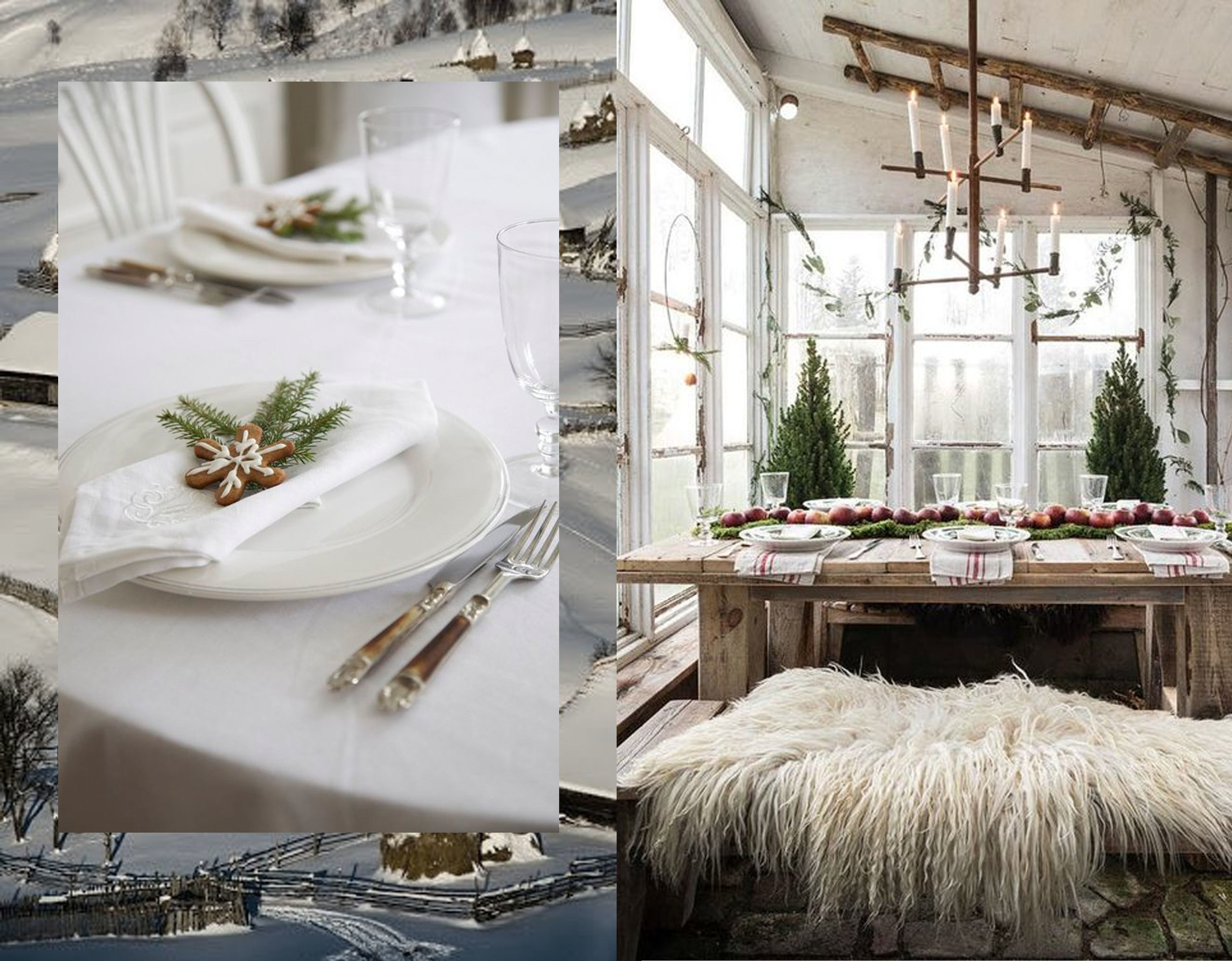 table setting via  Livs Lyst  - decorated table via  My Lovely Things