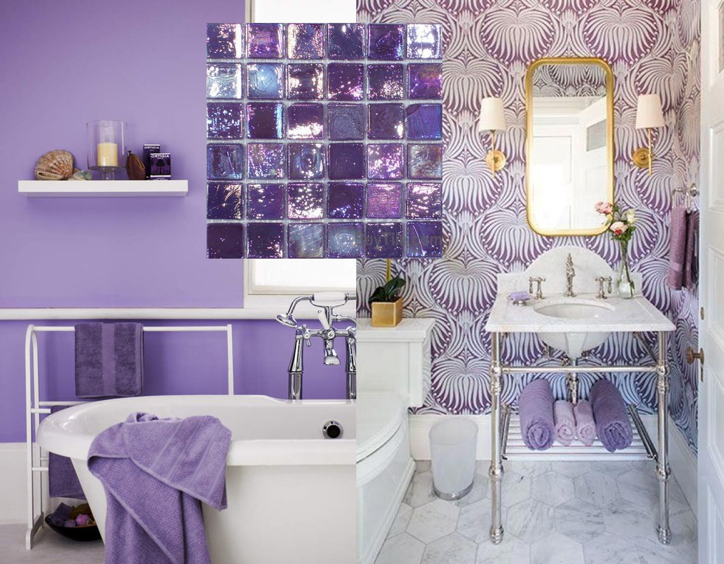 bathroom image via  Cozy Guide  - wallpaper in bathroom via  Doris Leslie Blau
