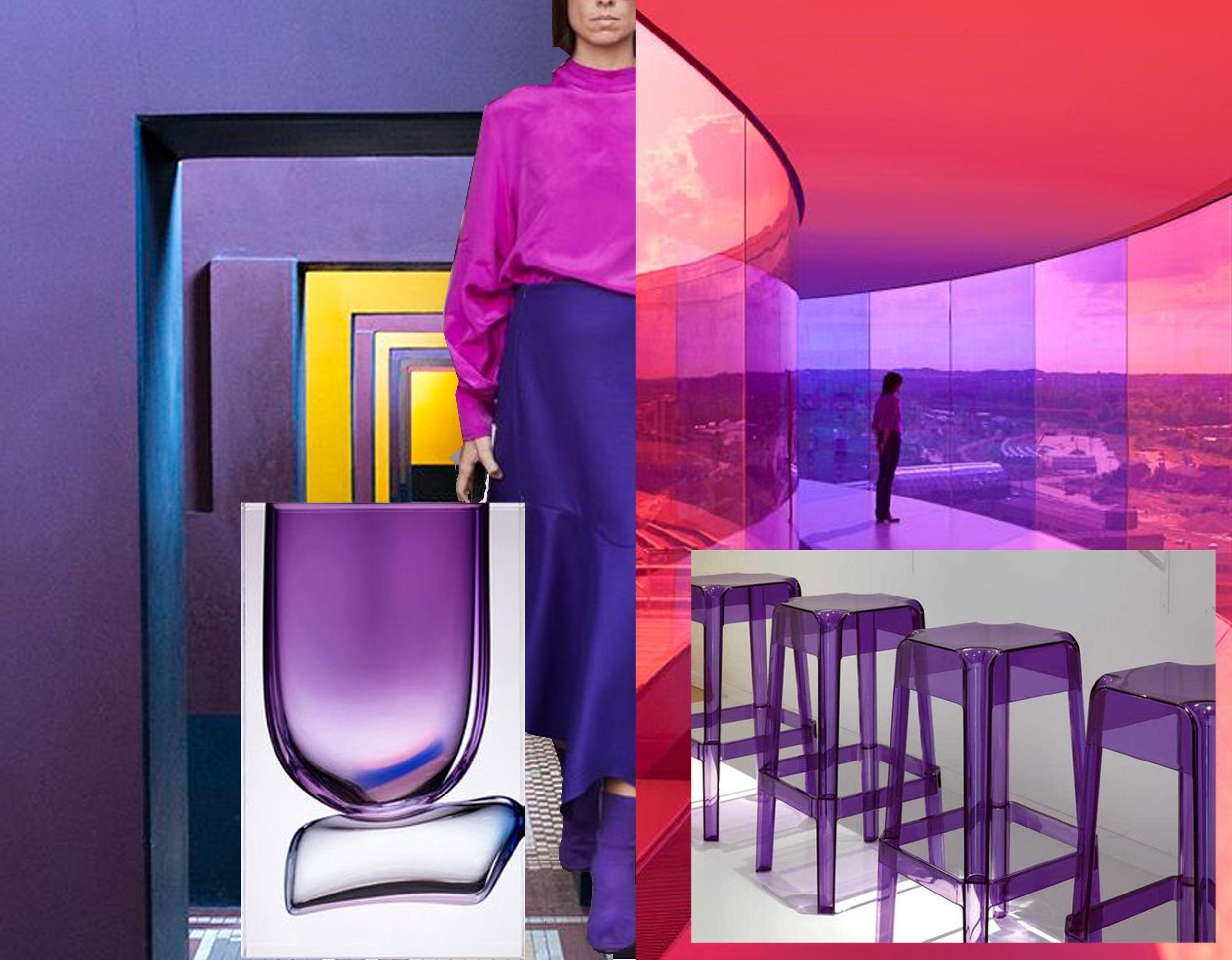 Thorvaldsen Museum  Denmark- glass vase  Anna Torfs  - street fashion via  Who What Wear  - Rainbow Panorama colored walkway by  Olafur Eliasson.  Photo: Quintin Lake - Rubi stool Pedrali via  Archiproducts