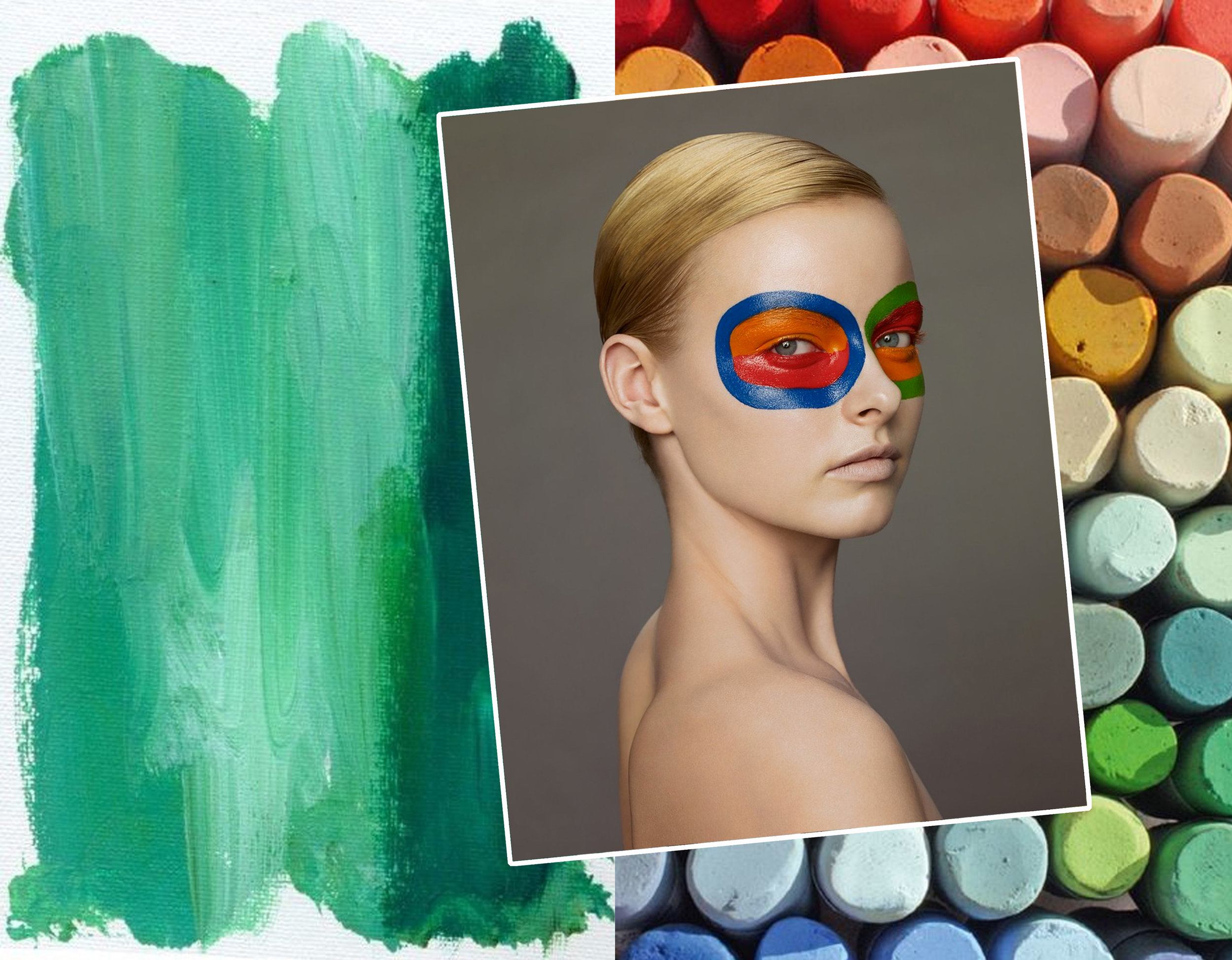 artwork via  Pinterest  - pastels via  Artists & Illustrators  - picture of woman by Erwin Olaf - make up Topolino for Vogue NL via  B&A
