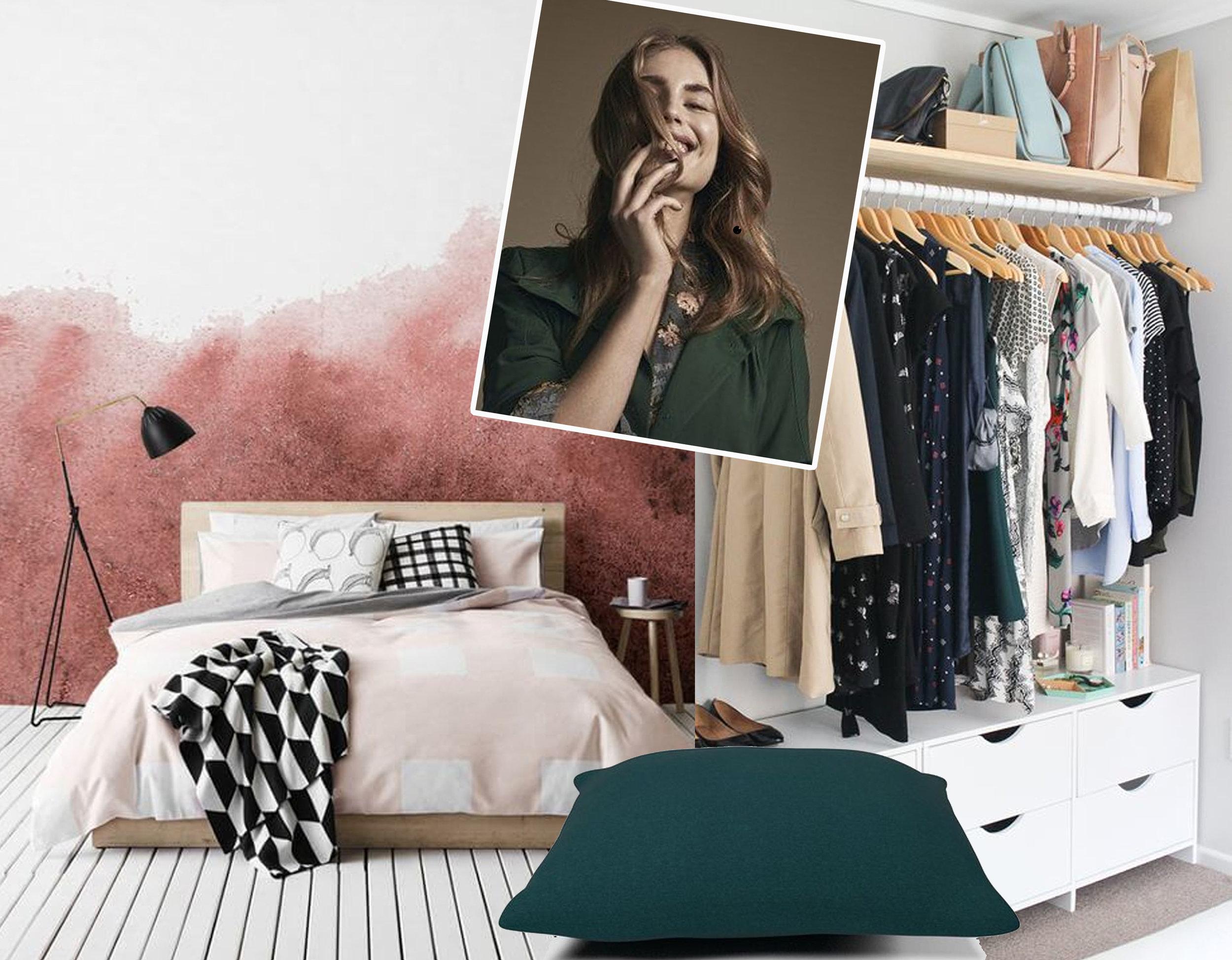 watercolor wallpaper  Mural Wallpapers  - dressing image via  Master Bedroom Ideas - mega floor cushion  Bolia  - woman's image via  Bolia
