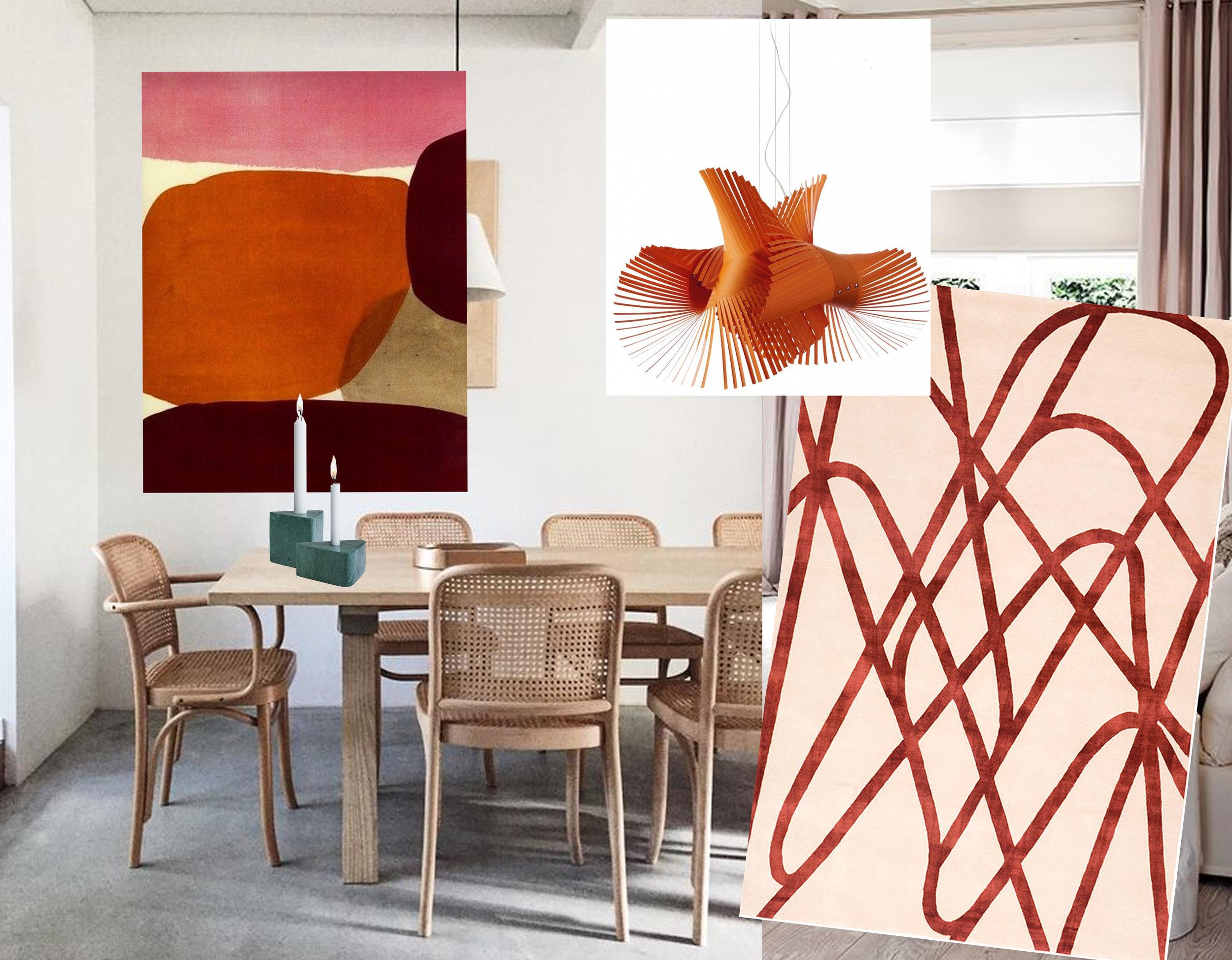 artwork  Luli Sanchez  - candleholders  Bolia  - interior image via Instagram - rug Farrah Ruby  The Rugcompany  - Minimikado suspension Lamp  Milia Shop