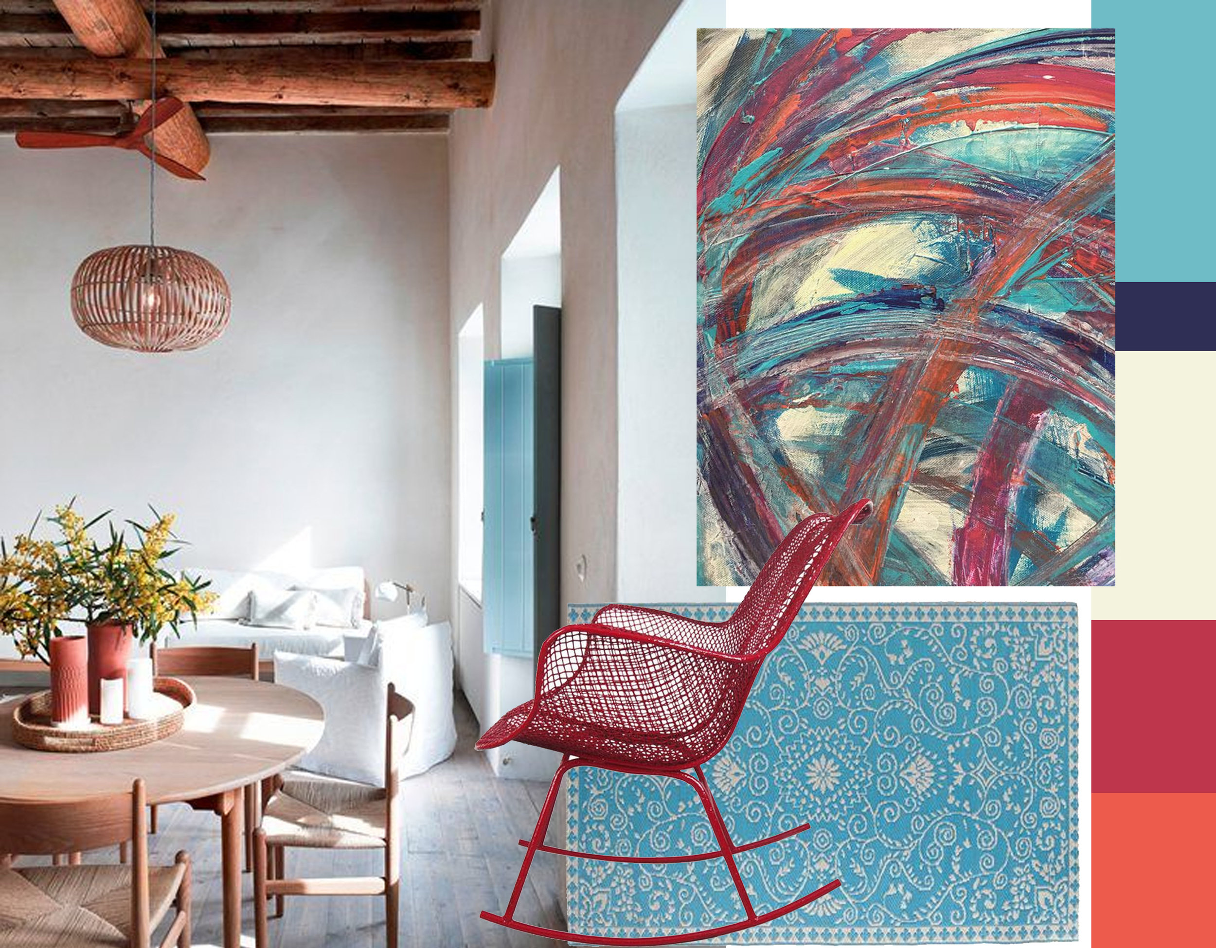 Milos House via  Archilovers  - rocking chair -detail artwork  LIBWAde