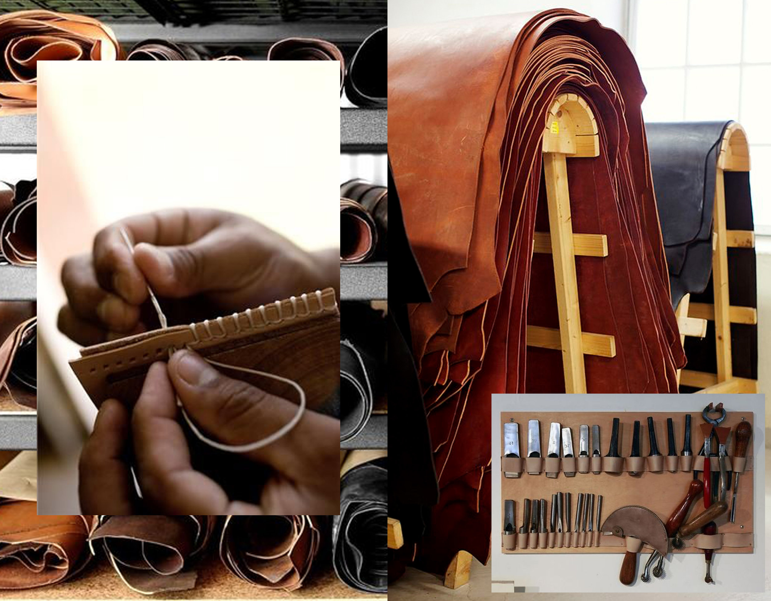 rolls of leather via I nstagram  - hand stitches via  Larru Leathers - leather image via  Lantliv  - tools via  Feather Factors