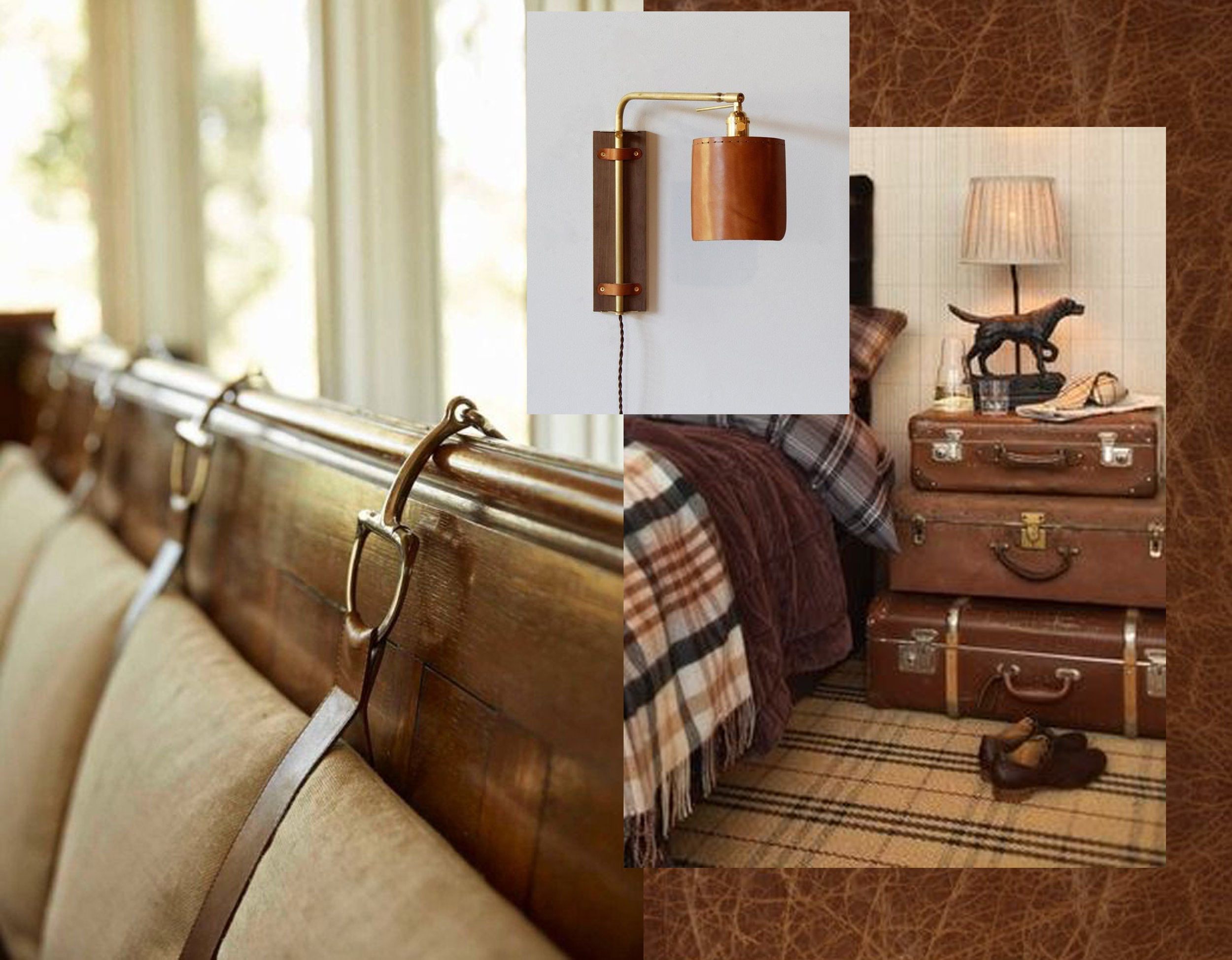 idea for banquette via  Bungalow  - leather suitcases via  Disfunctional Designs  - Ava wall scone  Lostine