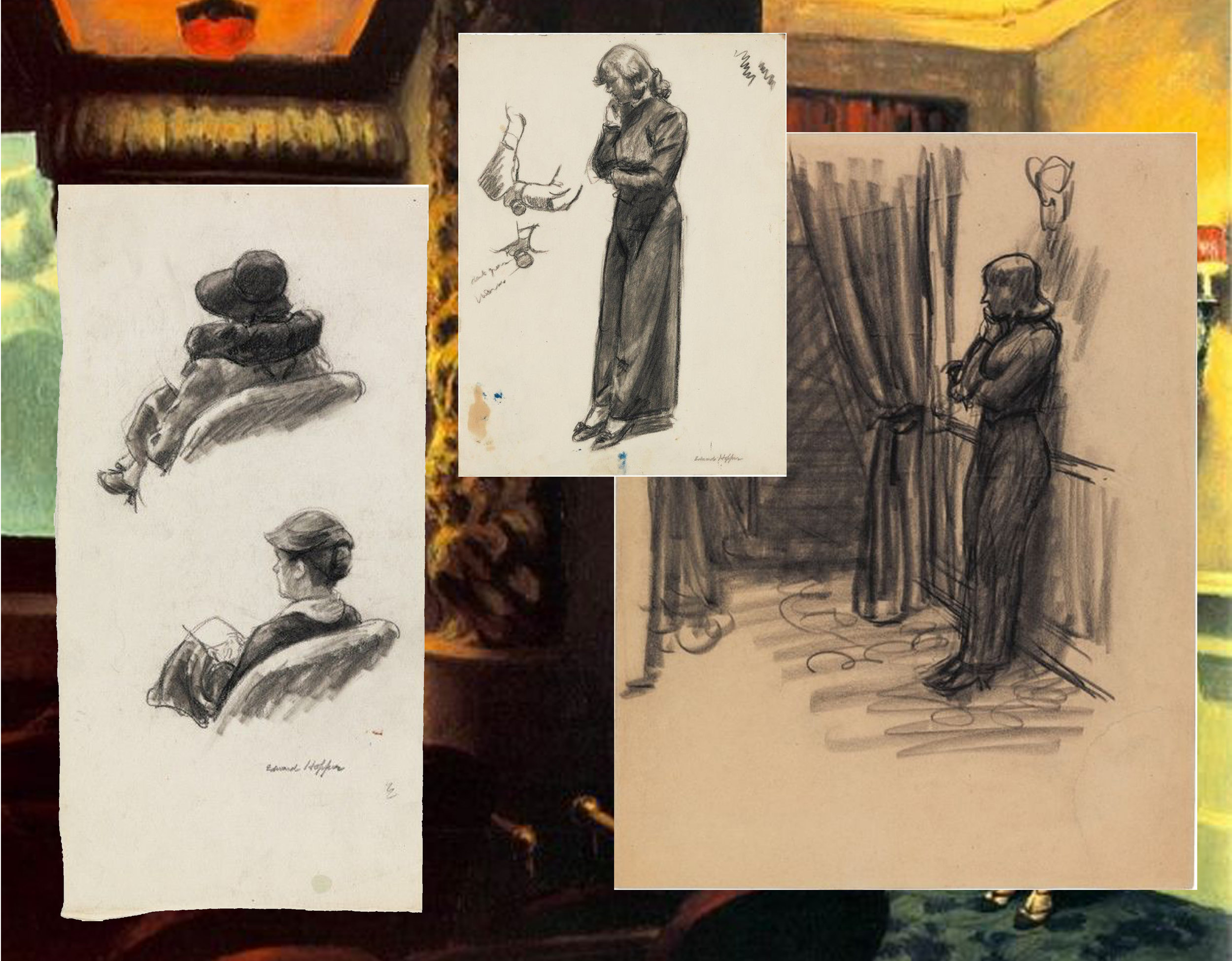 studies, sketches for painting New York Movie