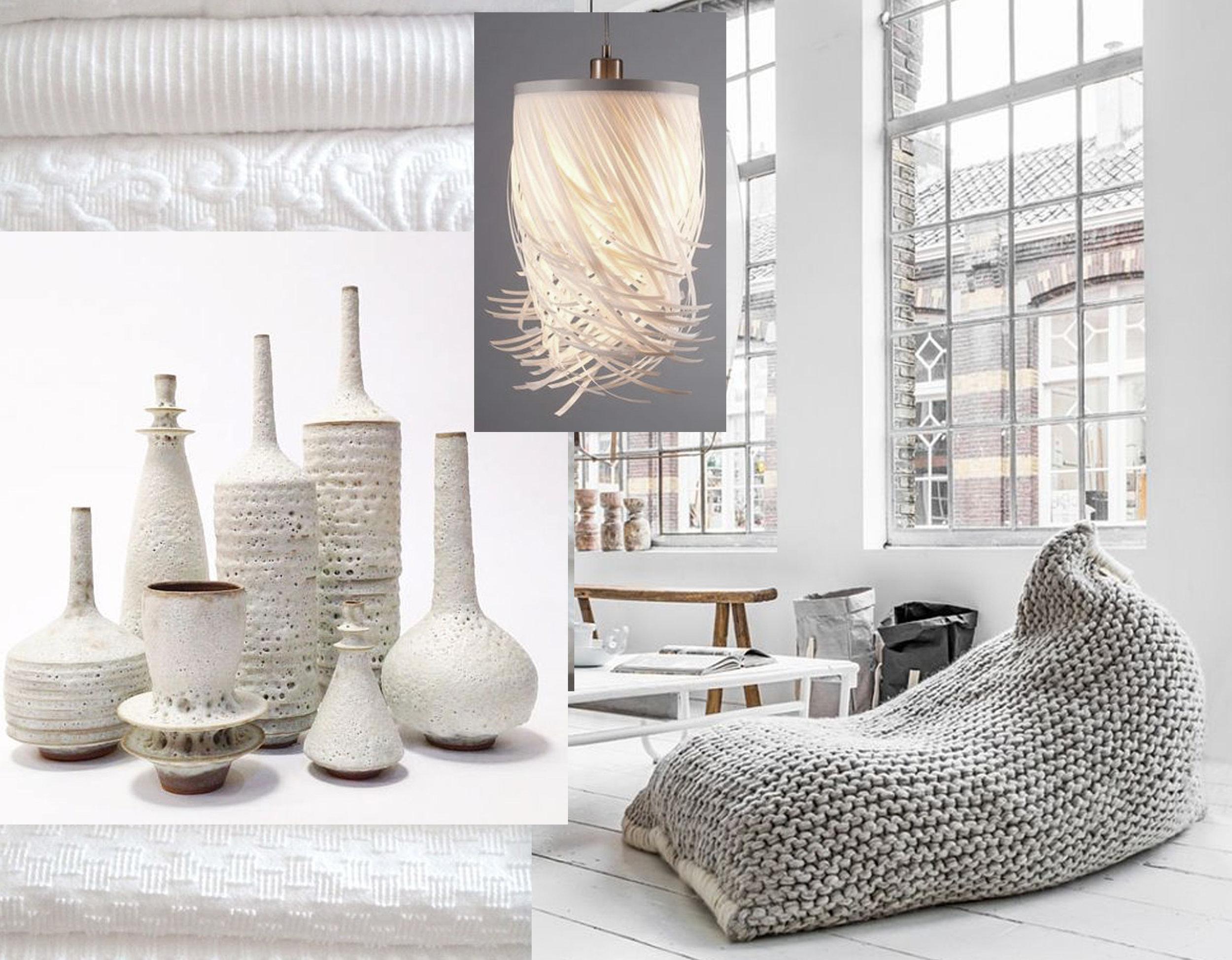 fabrics via  Cabin & Cottage  - hanging lamp Capellone  Ela Dany  - ceramics  Sara Paloma