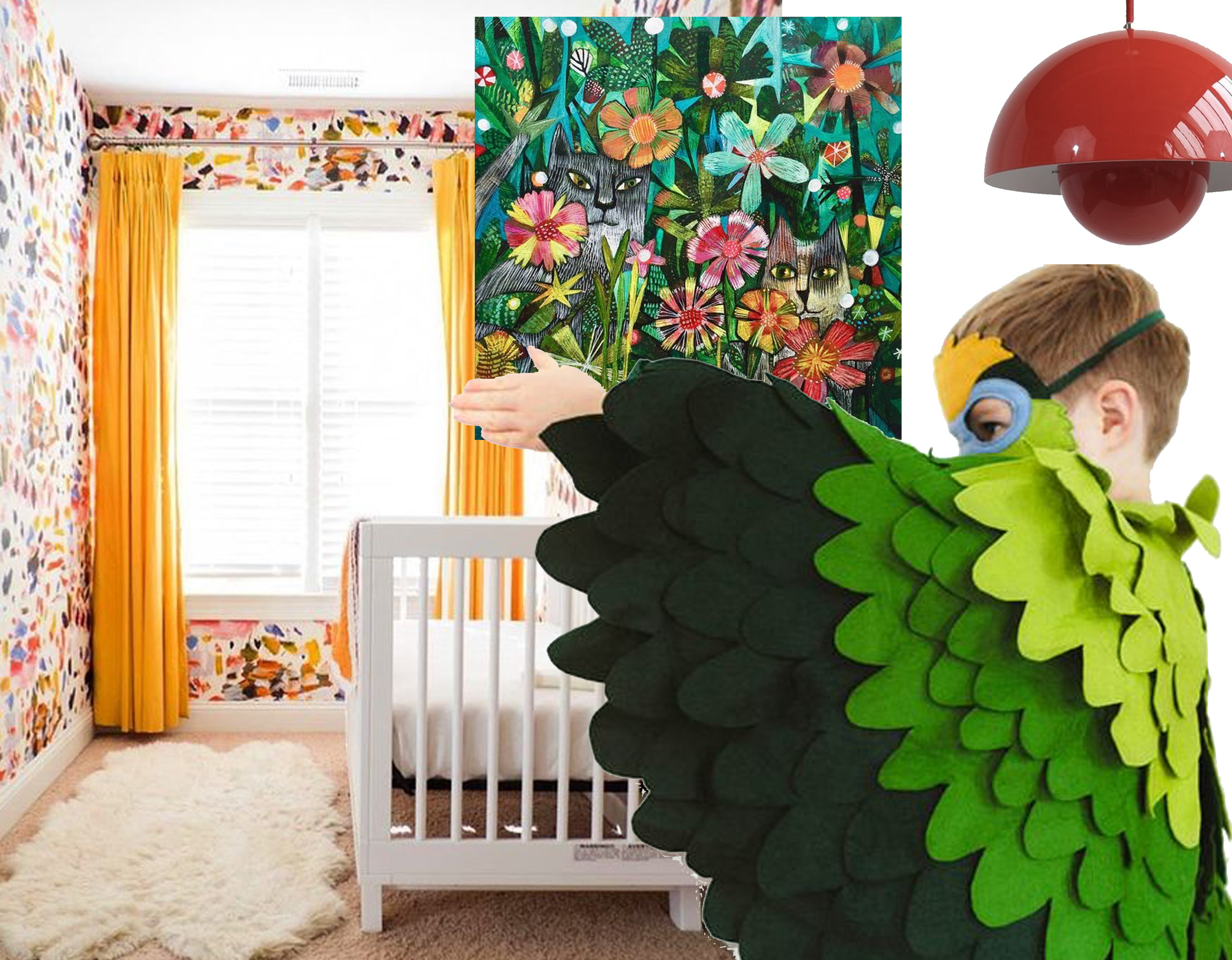 Arty wallpaper in kids'room  Pierre Frey  via I nstagram - colorful print  EsteMacLeod Design  - Parrot Costume  BHBKidstyle