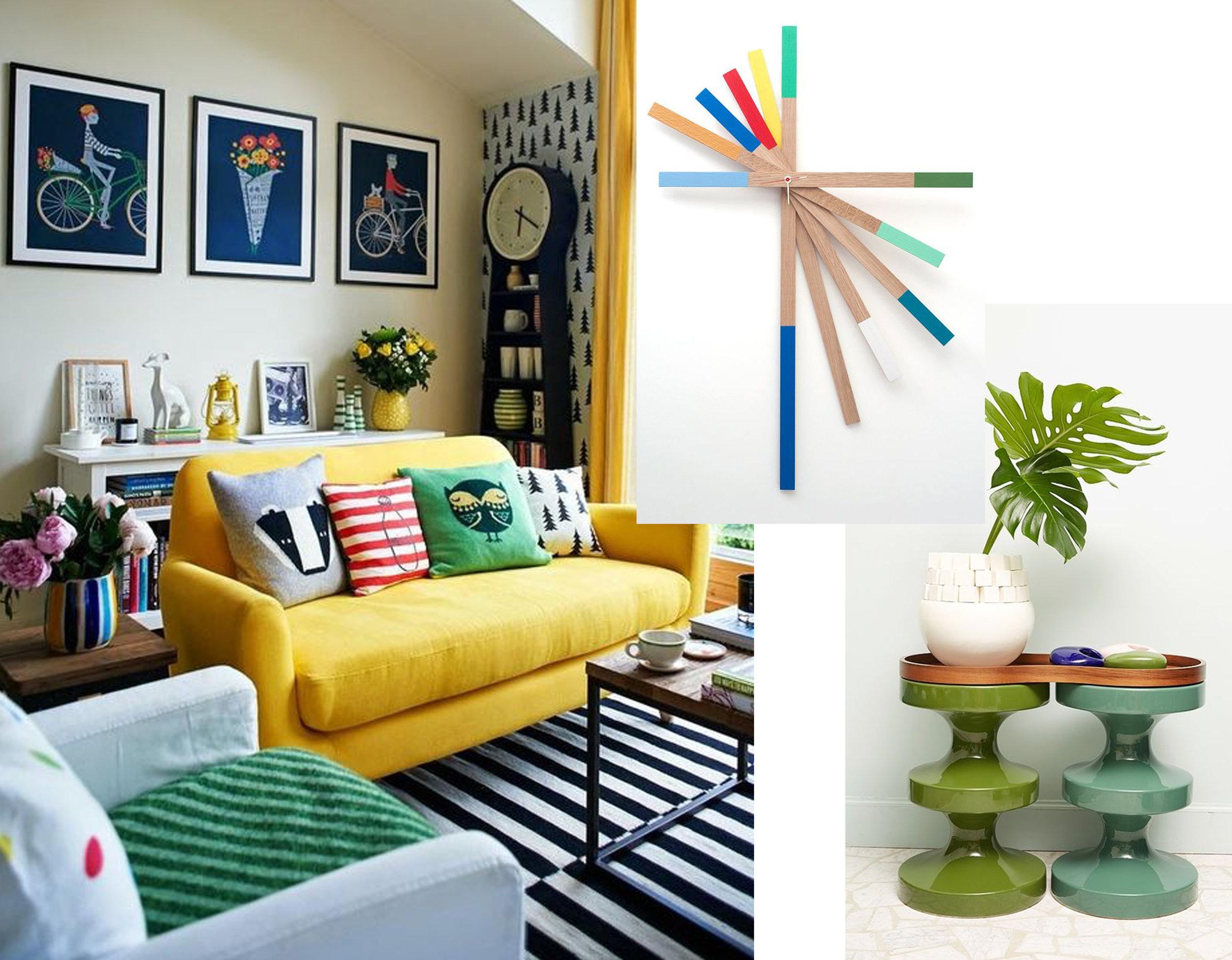 colorful interior via  Etxeko Deco  - Starburst Clock  Sennki  - Bishops Stools Inda Madhavi via  Interior Design