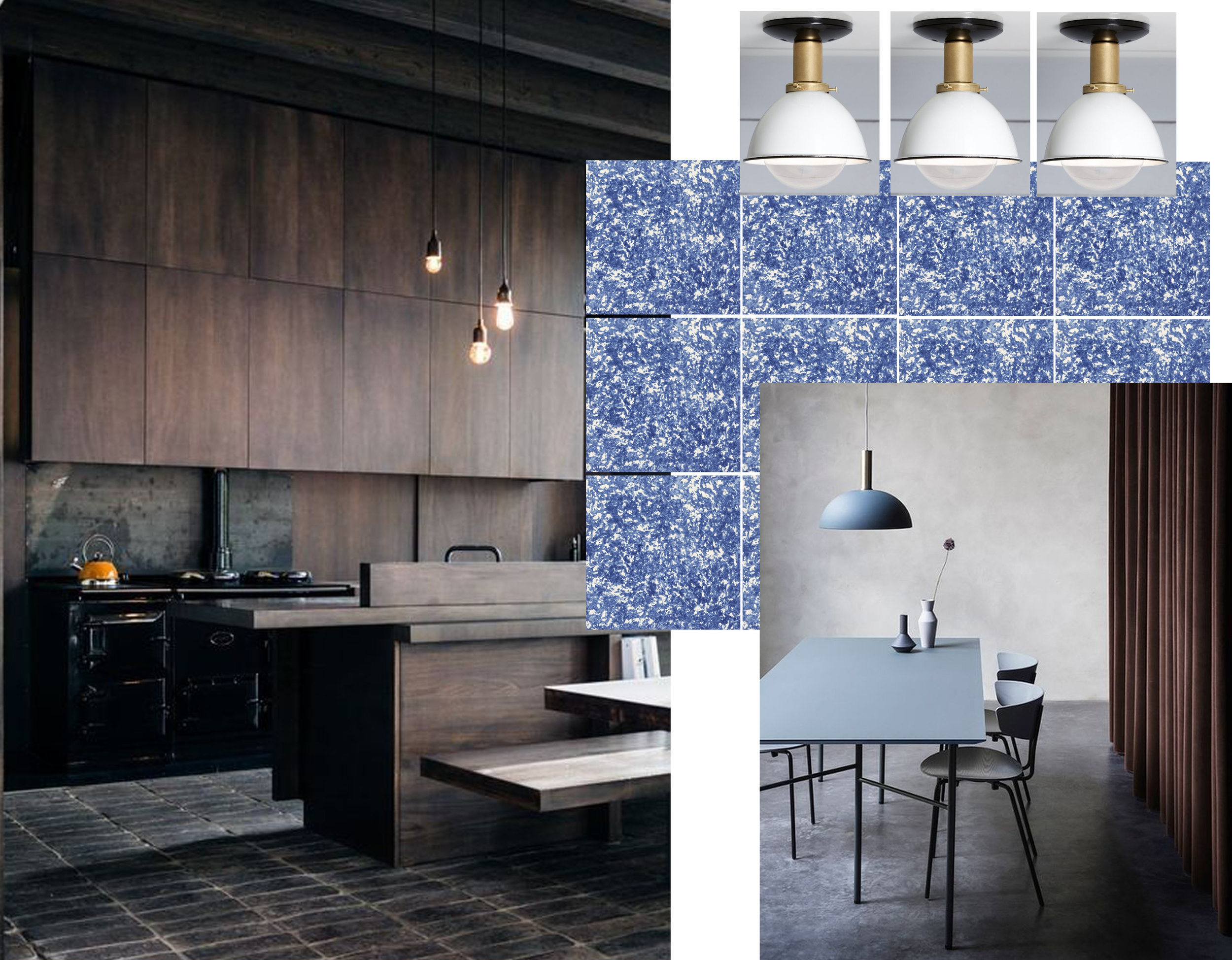 kitchen via  Residence Style  - Azulejo tiles  Viuva Lamego  - ceiling mount lamp  Industrial Light Electric  - interior image via  Collage Dersign