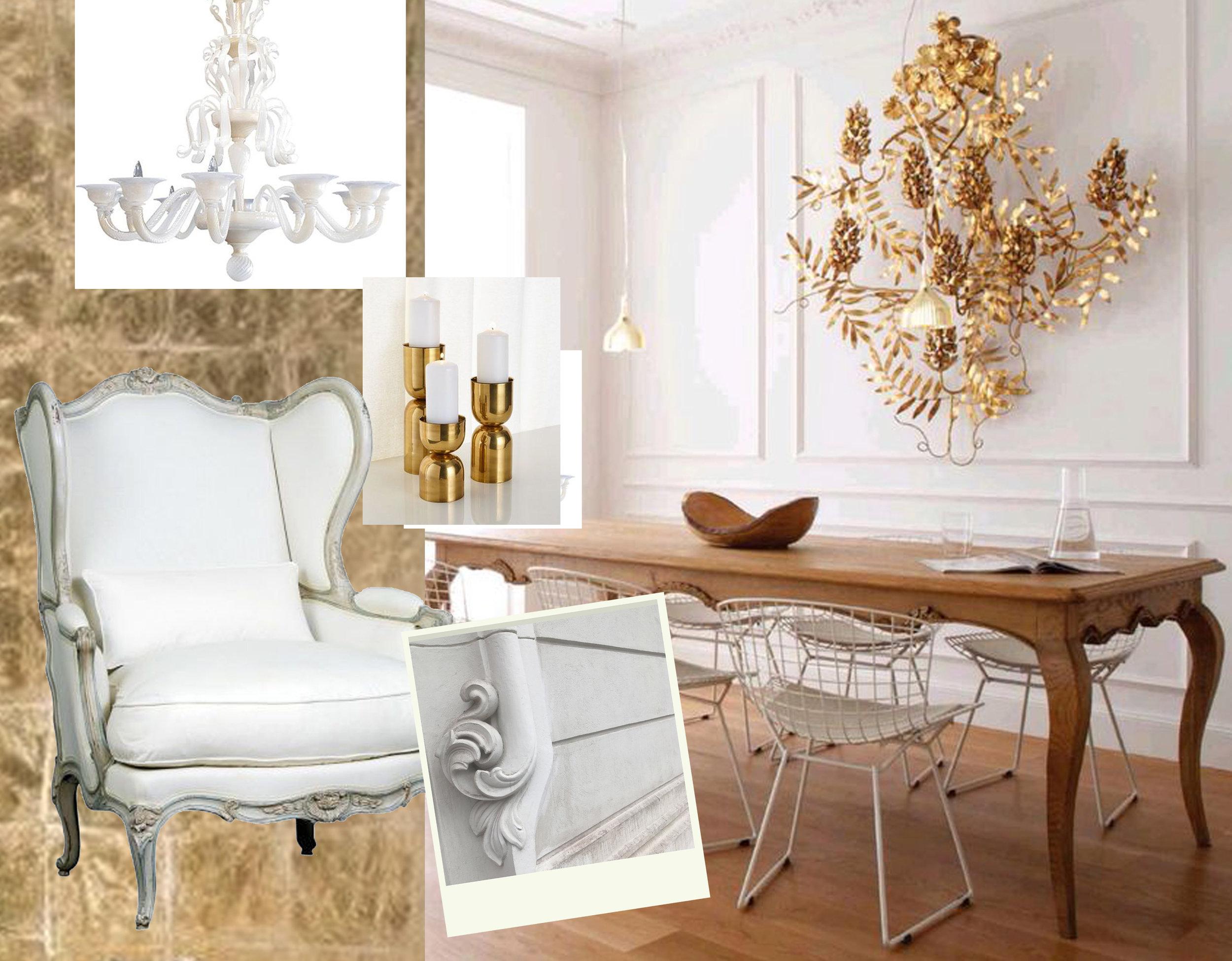 Murano Chandelier  1stdibs  - candle sticks  Horchow  - Louis XV wingchair  Massant  - interior design  Mikel Irastorza