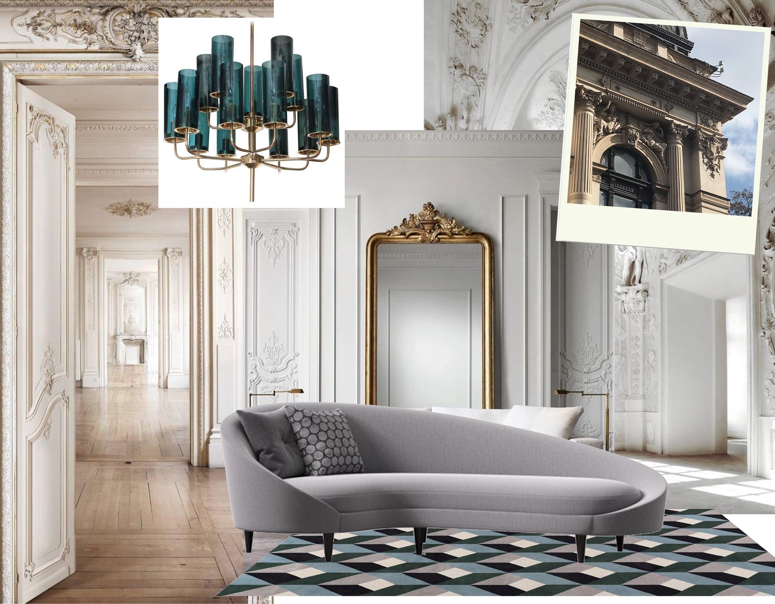 Brass and blue glass Tube Chandelier of Hans Agne Jakobsson via  1stdibs  - Bonavita rug  The Rugcompany - Parisian apartment via  Flickr  -
