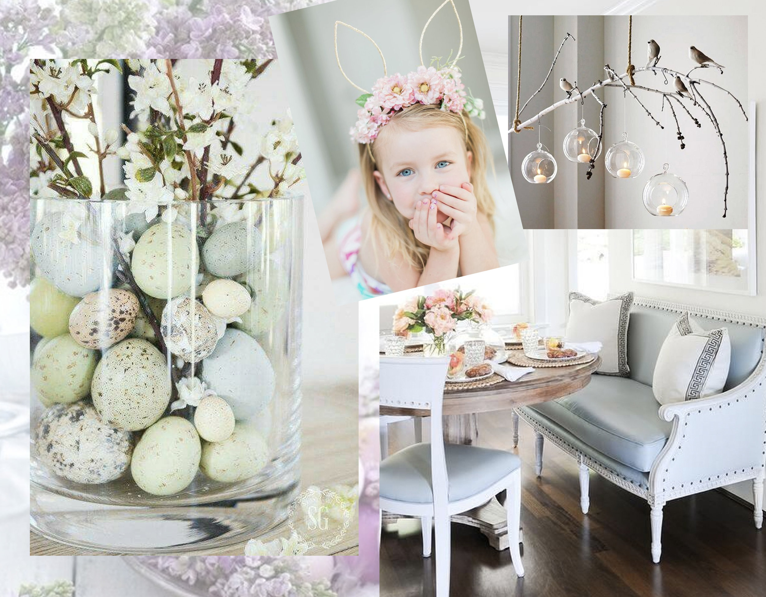 small eggs in vase via  Stone Gable  - little girl with floral crown via  Halleigh Hill - interior image  Kerrisdale Design  - branch above the dining table via Pinterest