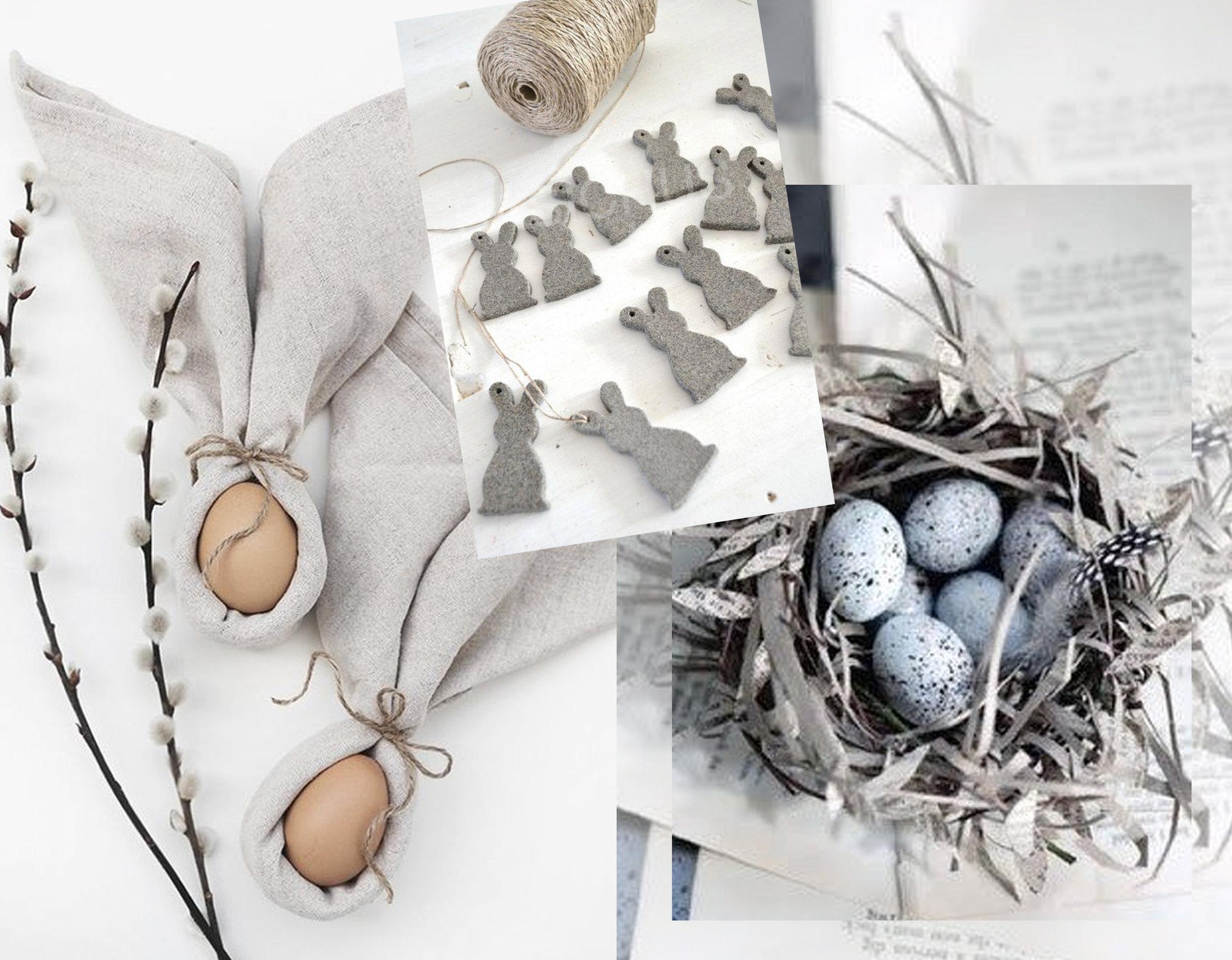 Bunny Ear Napkins for Easter via  Trendenser  - grey felt bunny via  The Paper Mulberry - eggs in nest via  All Things Paper