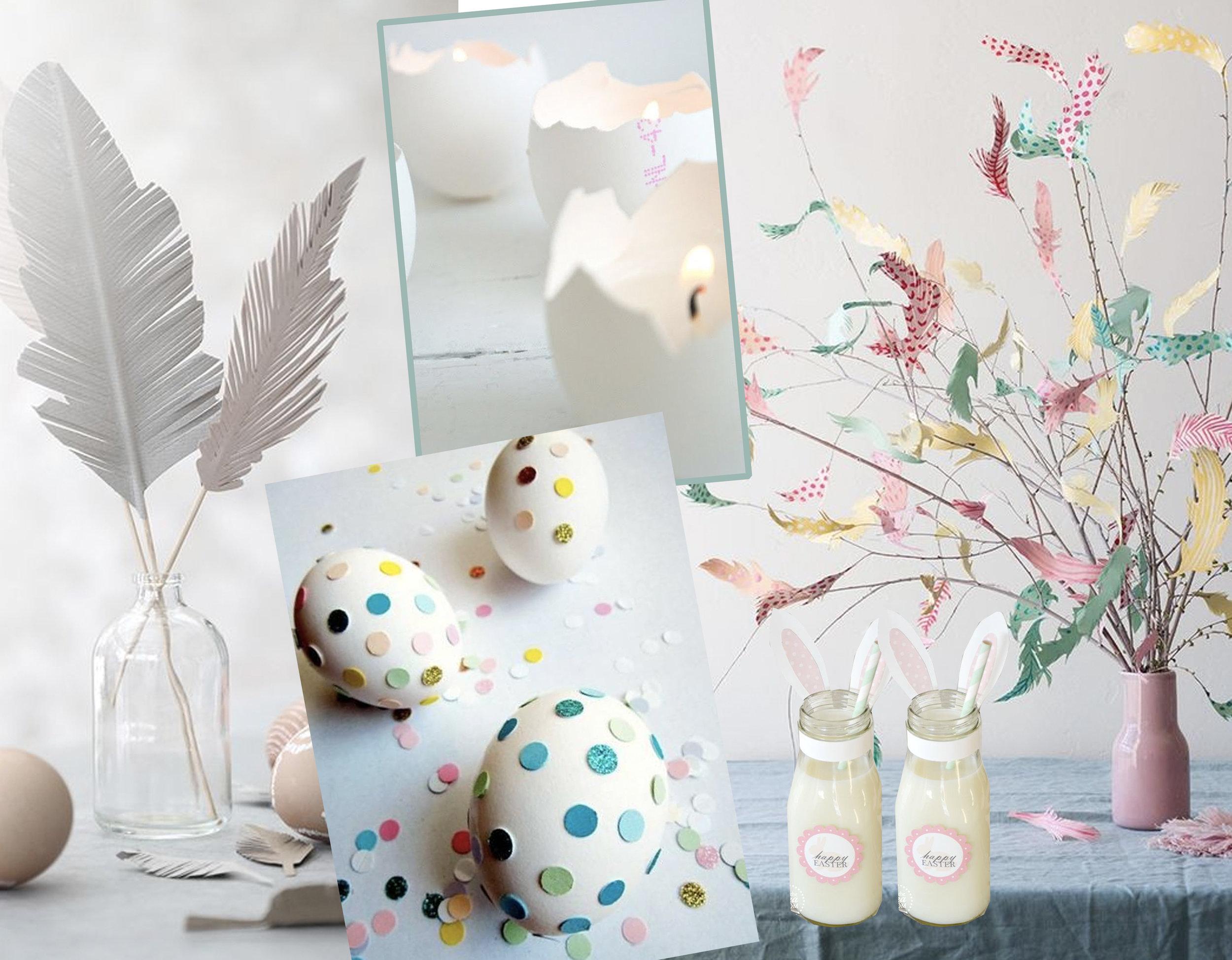 paper feathers via  Trendenser  - eggs with dots via  Spaaz  - egg candles via  Lekker Frisss  - bottles with bunny ears via  The Idea Room  - table decoration via  House Beautiful