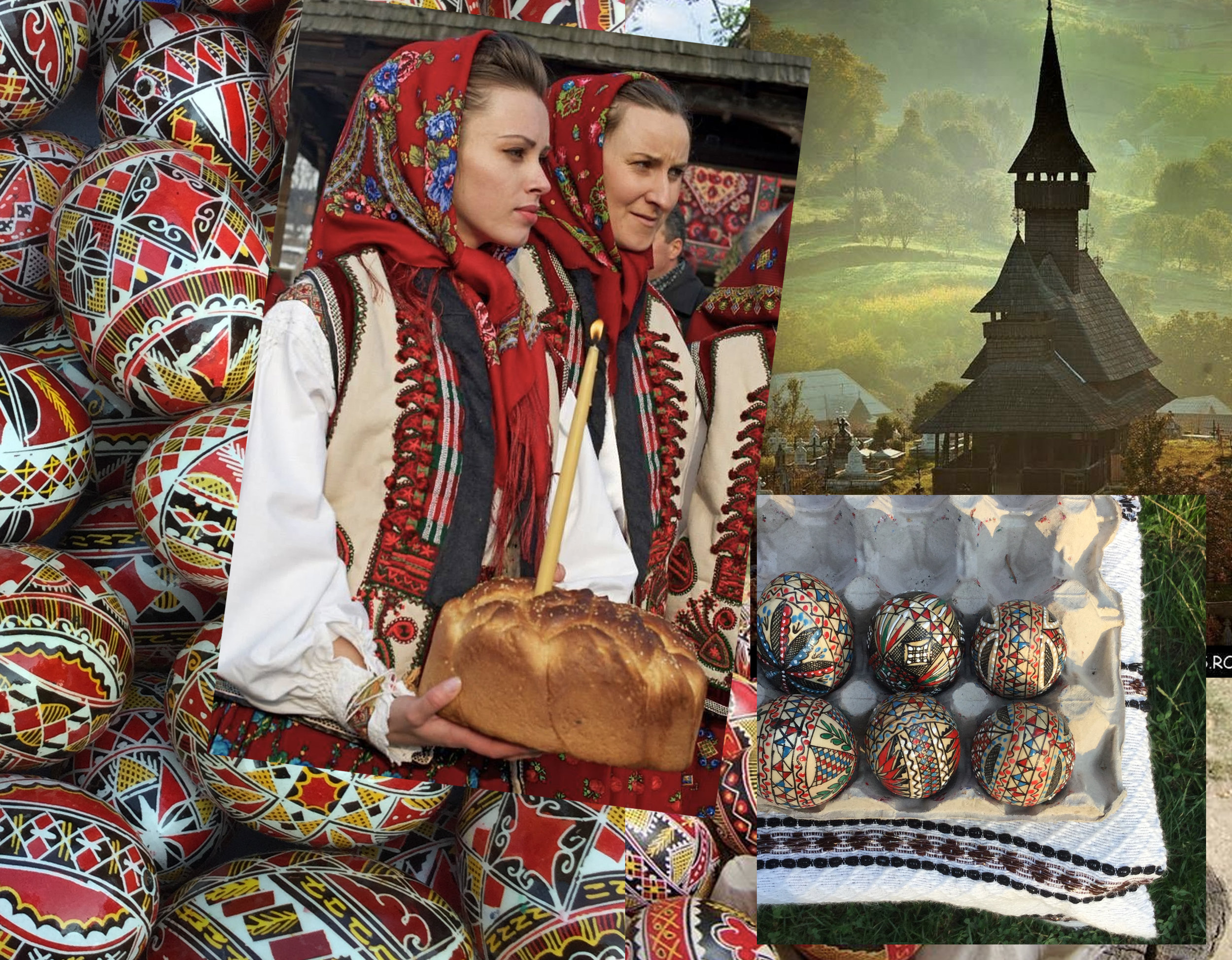 painted eggs - women form Maramures with Easter bread via  Simona Moon  - wooden church Maramures