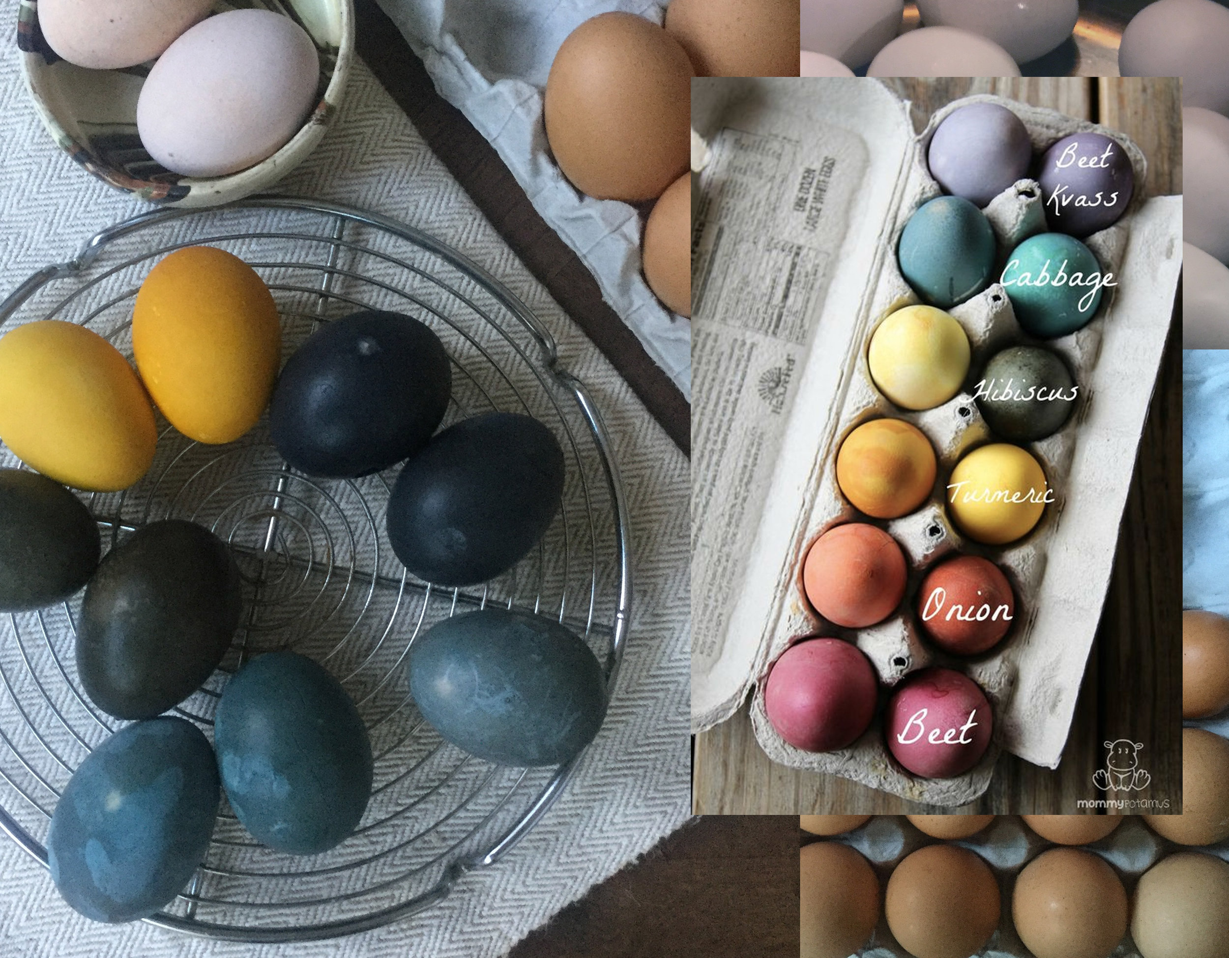 my own dyed Easter eggs - vegetable dyed eggs with explanation via  Mommy Potamus