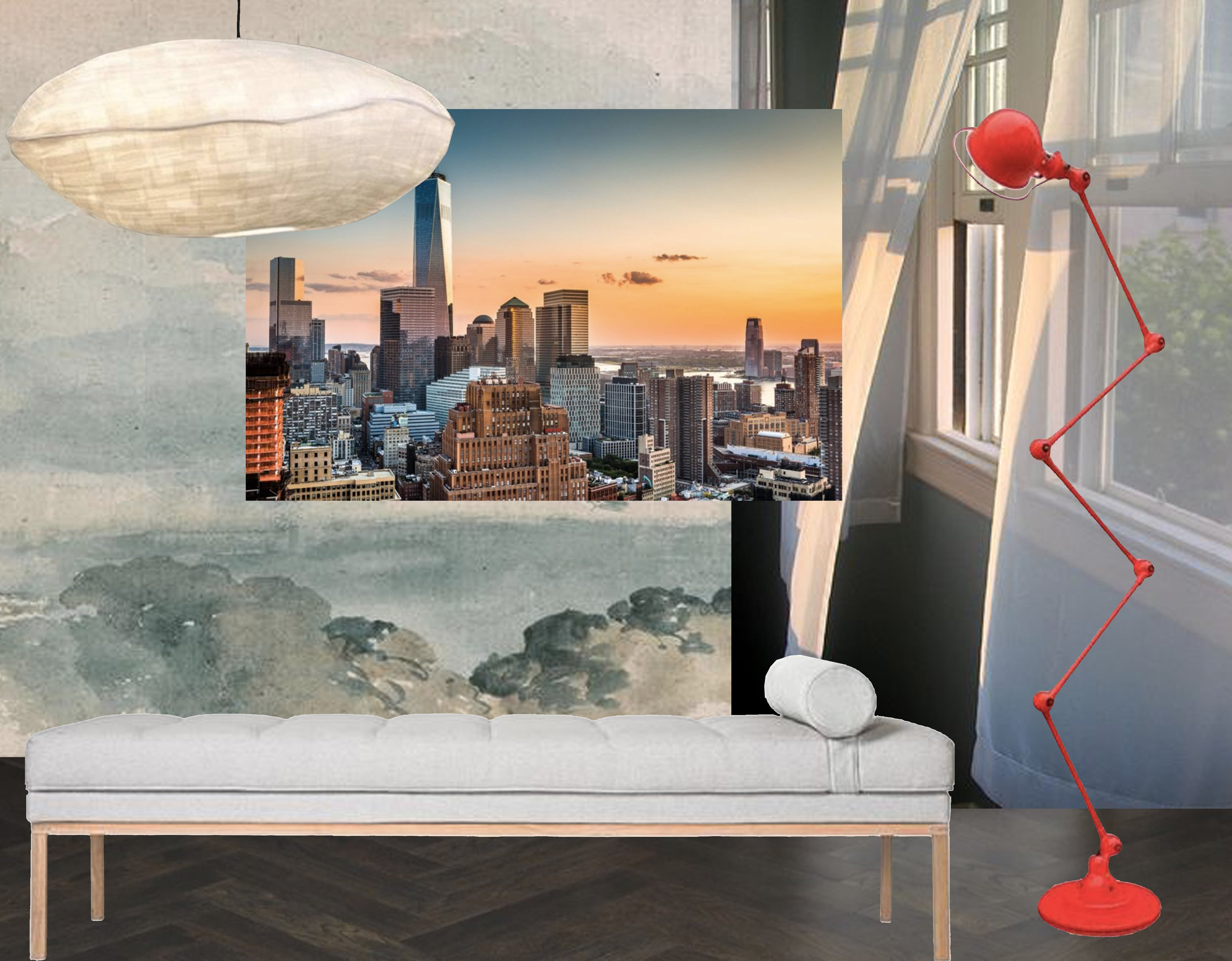 daybed  Design & After  - mural One World Trade Center from  Murals Wallpaper - hanging lamp Nuage  La Redoute  - standing lamp  Jielde  - window view via  Flickr