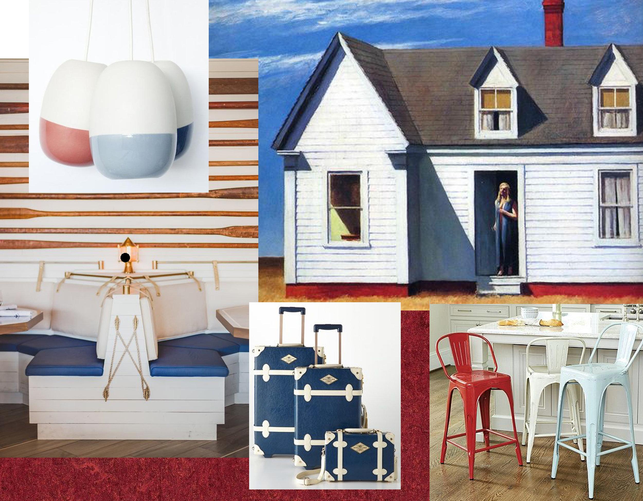 painting High Noon - The Yacht Club  Petermax  - Mariner Lamp via  Remodelista  - suitcases via Pinterest - Marian Metal Counter stool via  Ballard Design