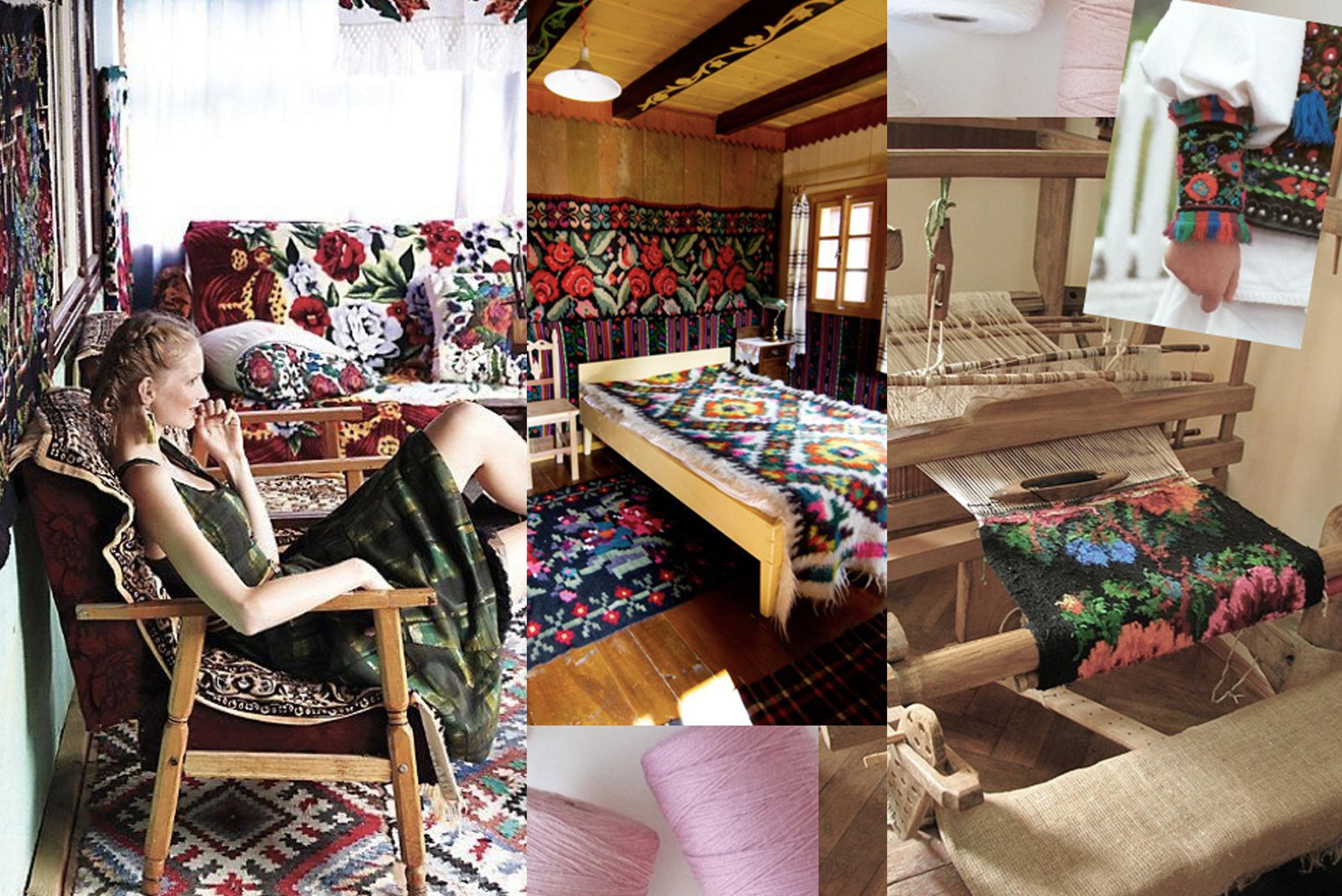 fashion shoot in Romania  Anthropologie  - interior with rugs via  Gypsy Yaya