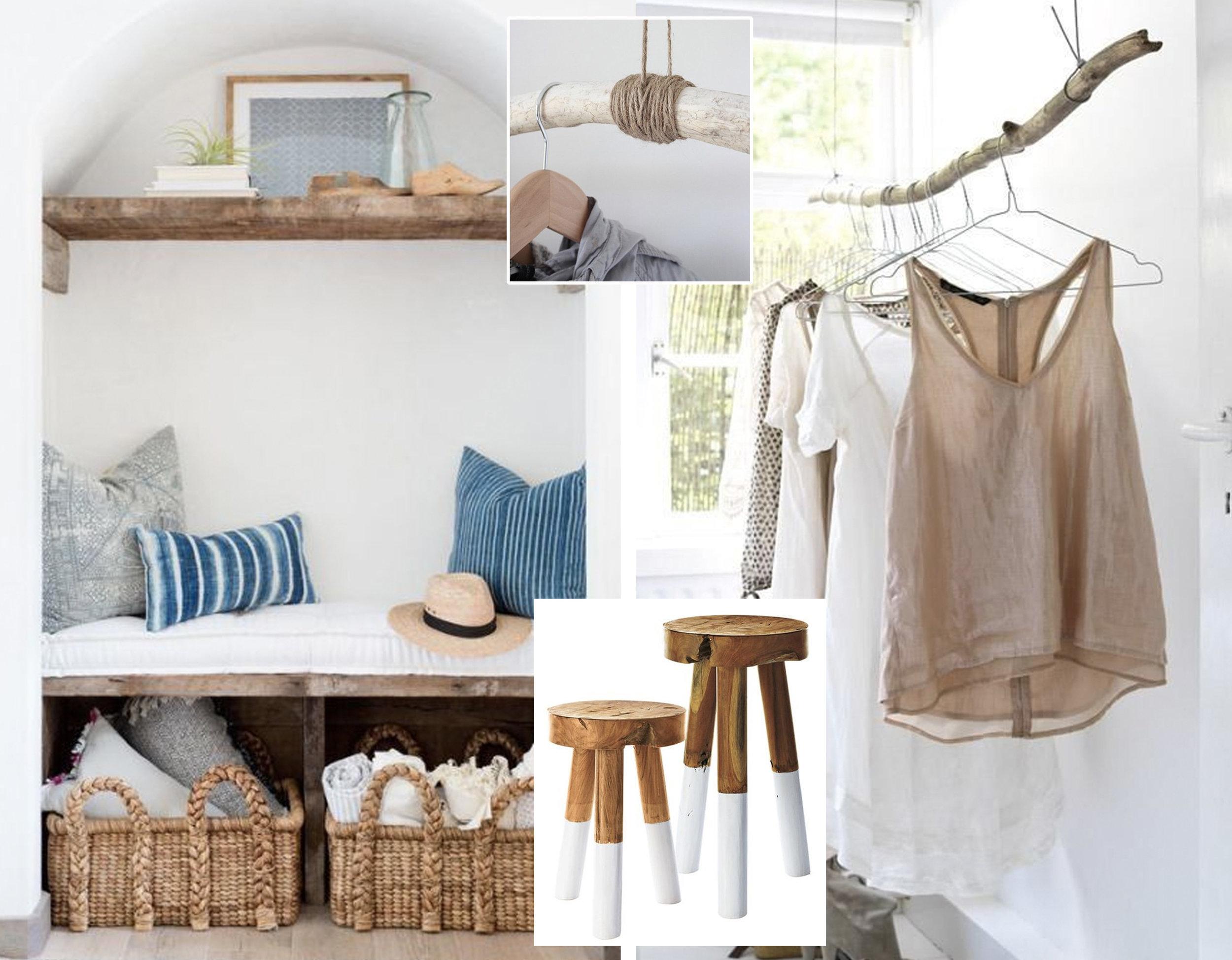 sitting corner via  Pinterest  - hanging rack via  Lonny  - detail fixing wood branch via  Curbly  - dip-dyed stools  Serena & Lily
