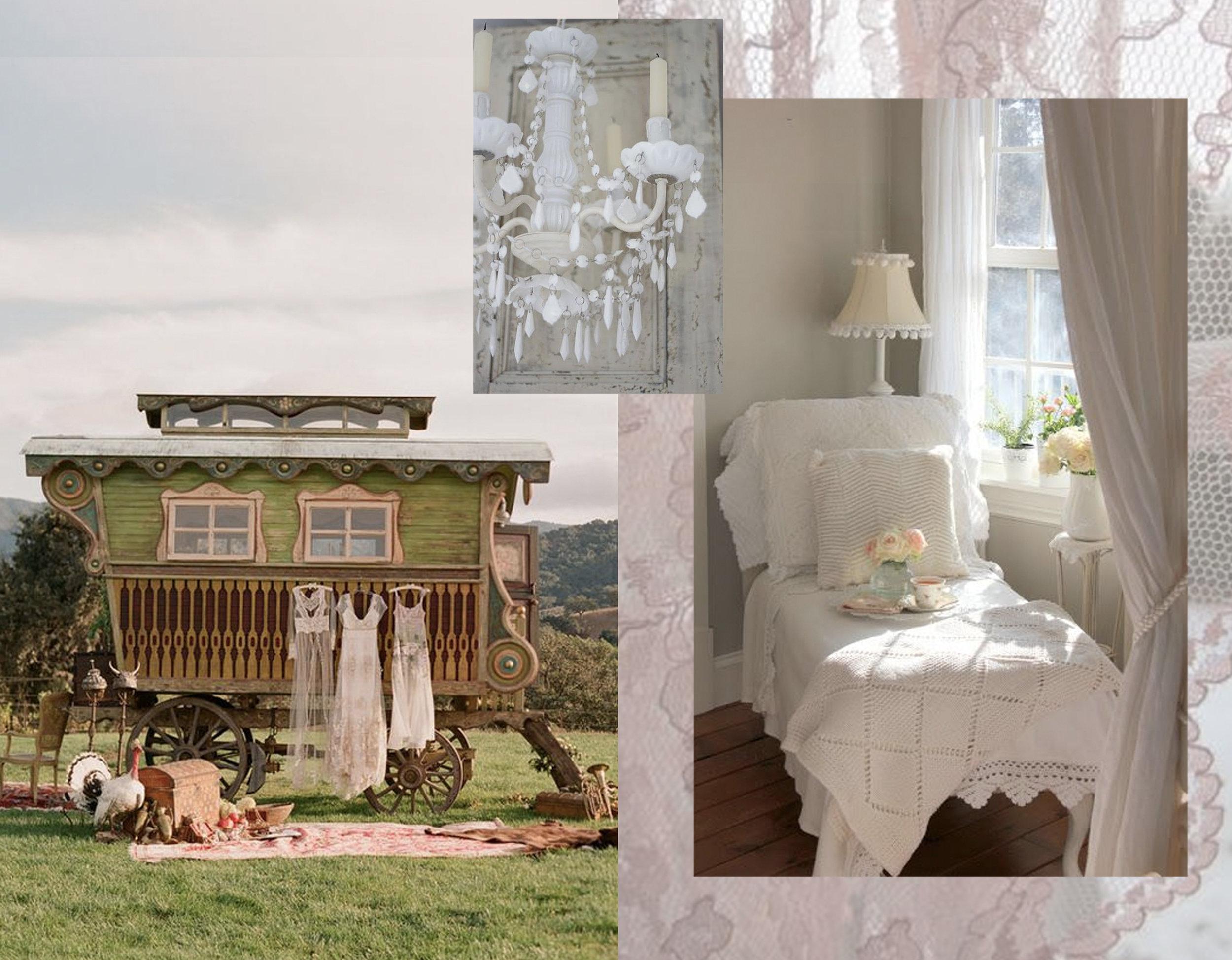 vagon via  Grey Likes Weddings  - hanging lamp via  Tumblr  - romantic interior via  Warren Grove Graden