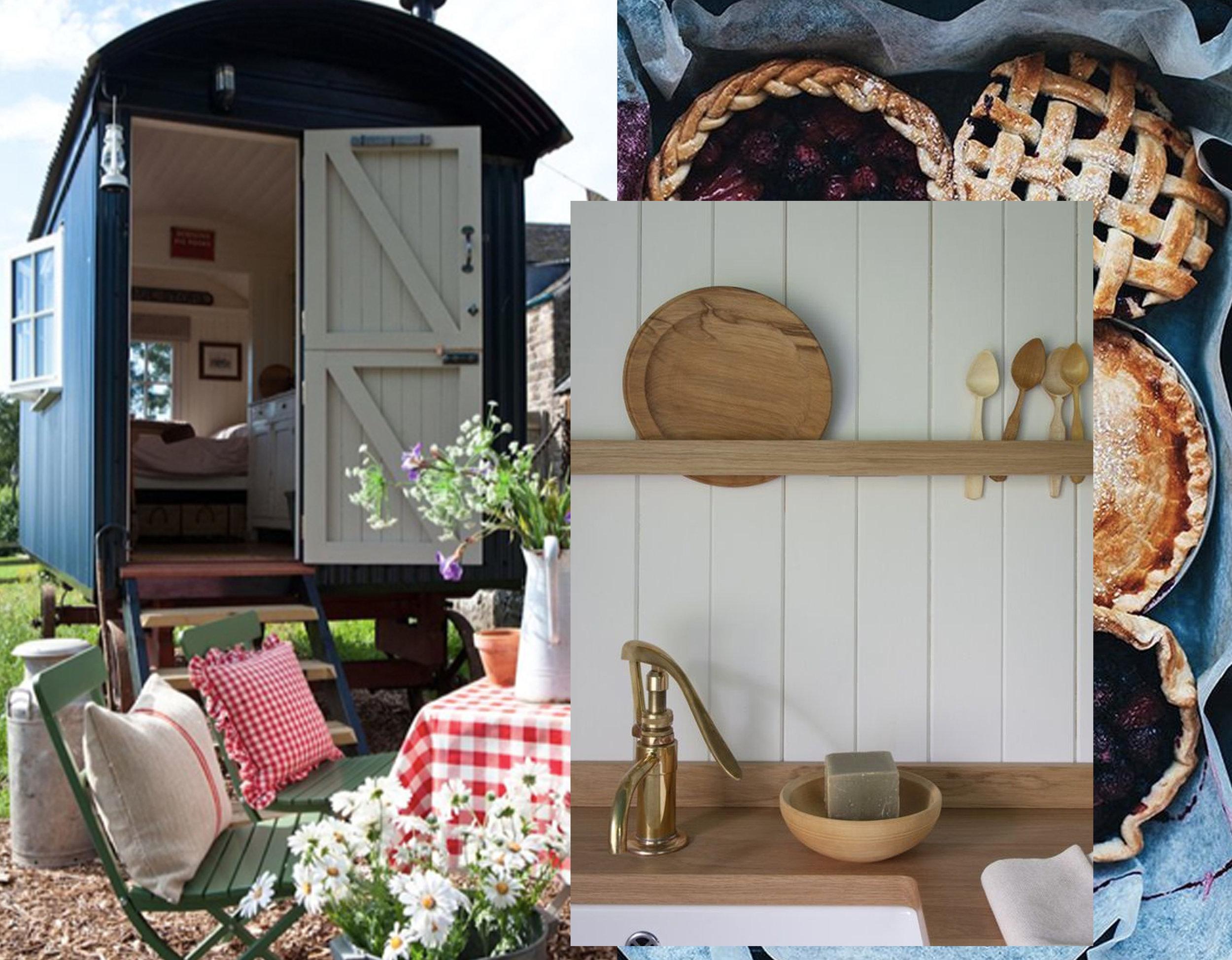 vagon via  Pinterest - summer pies via  Waiting on Martha  - kitchen via via  Remodelista