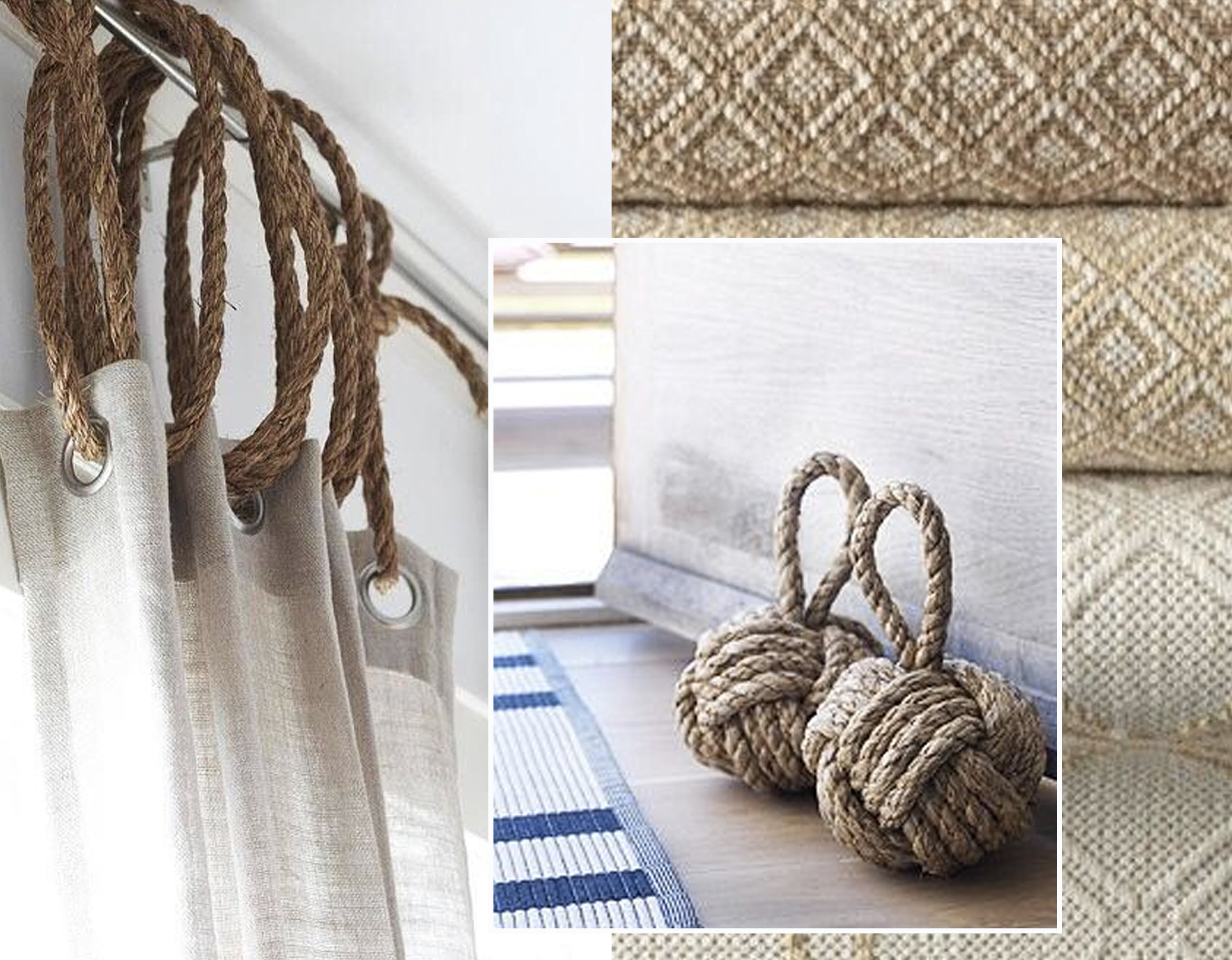 curtain idea and door stopper via  Rough Luxe Lifestyle  - rugs via  It's a Colorful Life