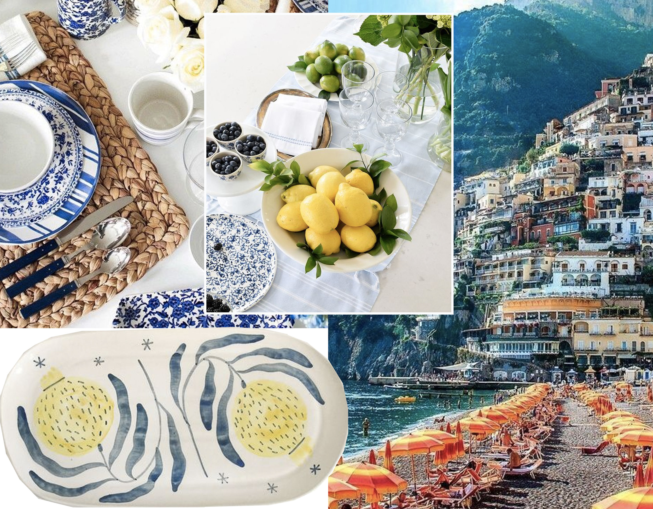 table setting via  Pinterest  - oval platter  Madalina Andronic  - lemons as table decoration via  Citrineliving  - Positano via  Buzzfeed