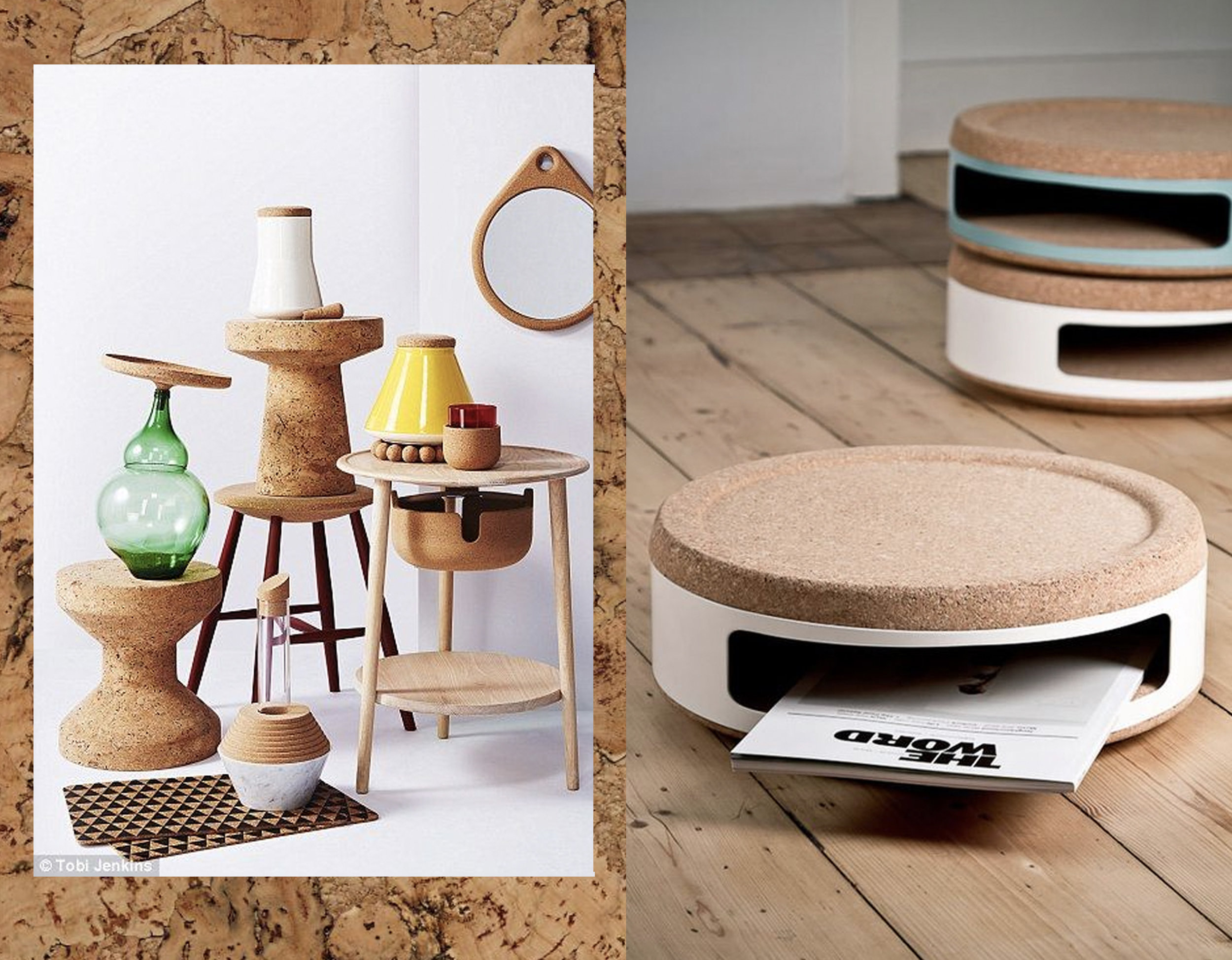 cork tile  Cork Store  - cork stools via  Daily Mail  - Kork Project  Studio Twodesigners