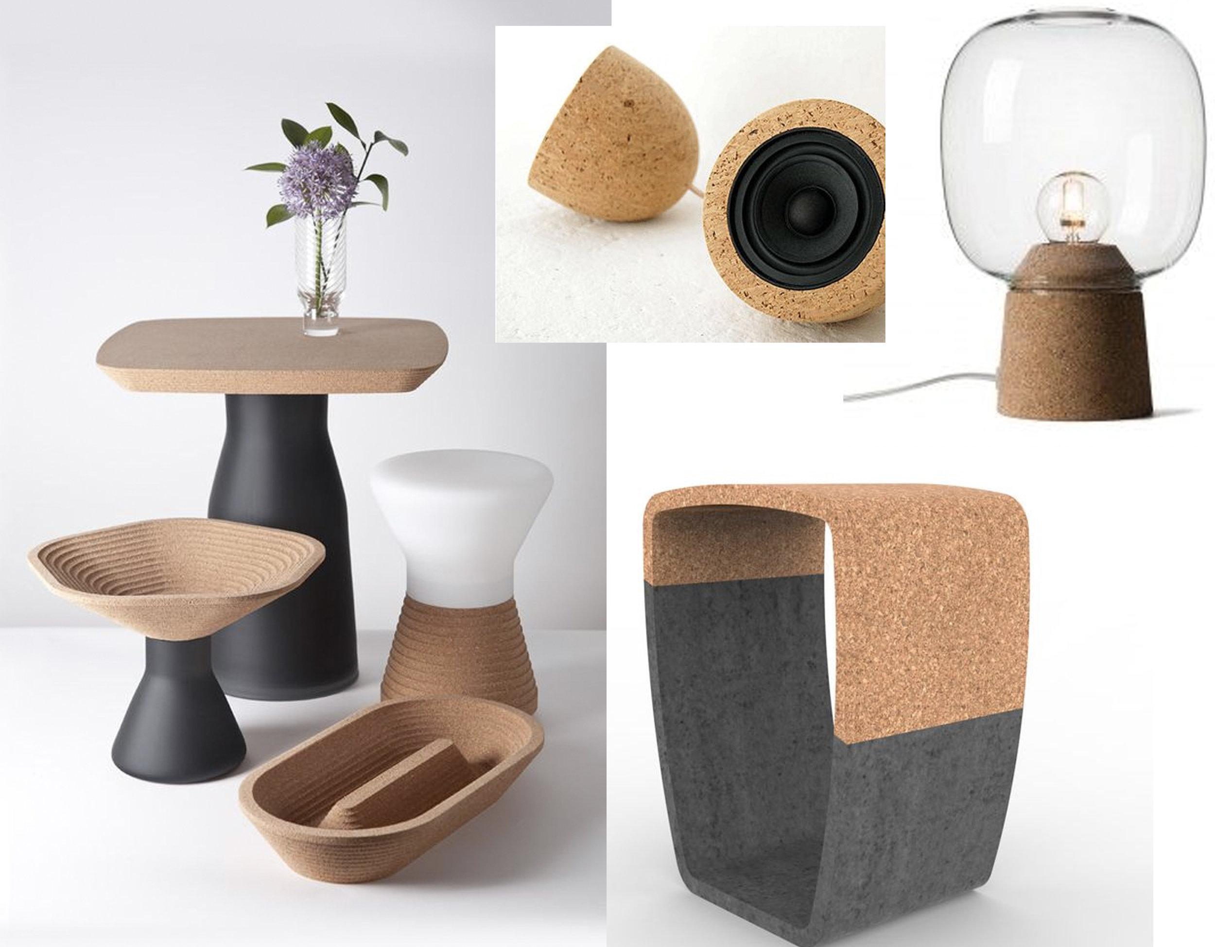 small tables via  Florian Lemariè  - USB speaker via  Design Flute  - table lamp Picia  Buru Buru  - Concrete and cork stool