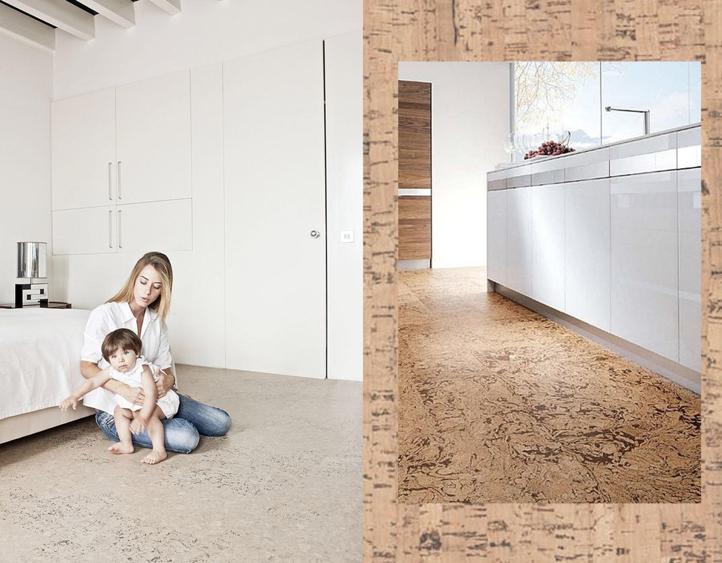 bedroom via  Real Cork Floors  - kitchen via  Baby Green Design - cork floor  Hard Floor Specialist