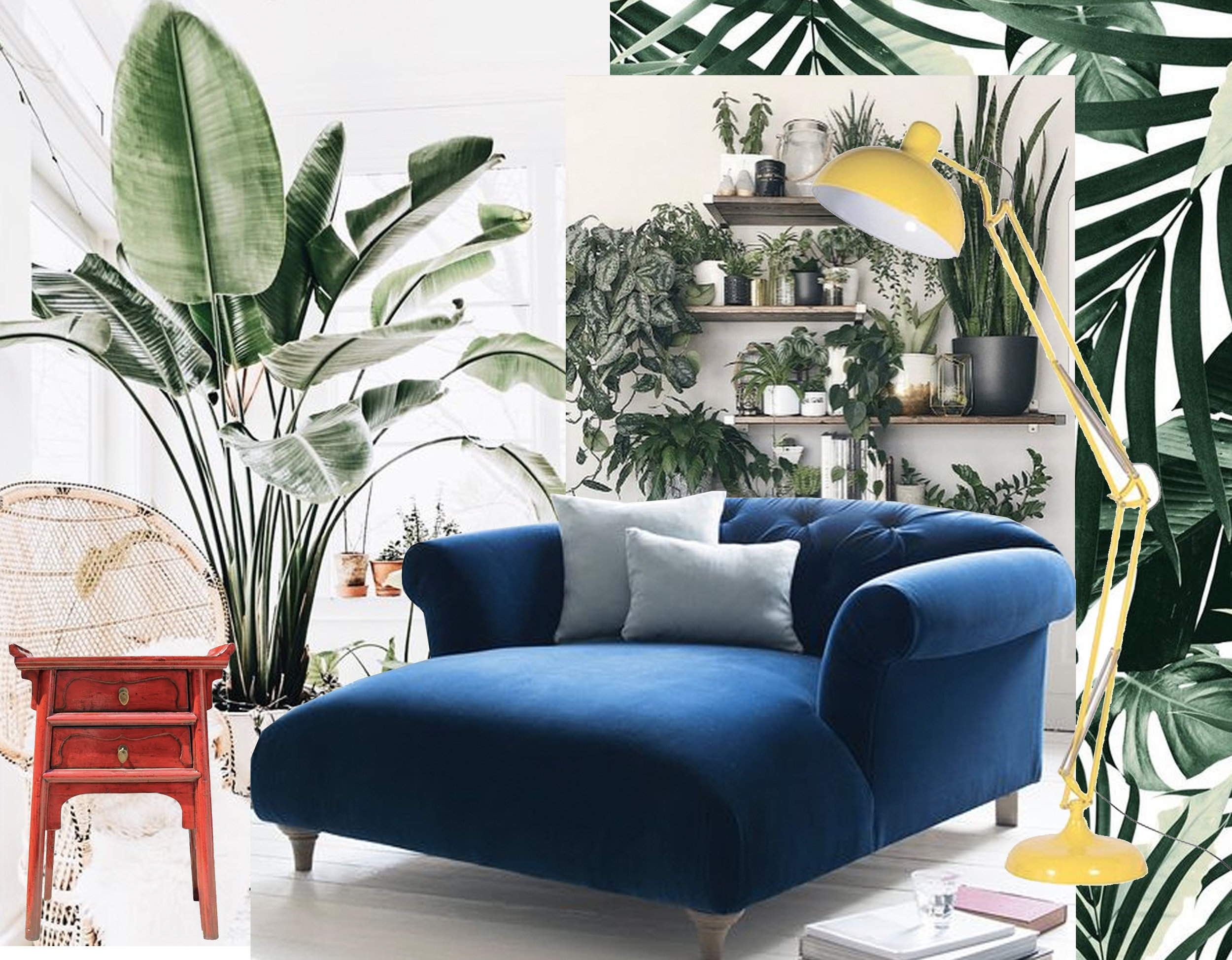 Dixie love seat  Loaf  - Tropical Jungle Leave pattern  Society 6  - Chinese side table  Chairish  - standing lamp  Funk Pop Art