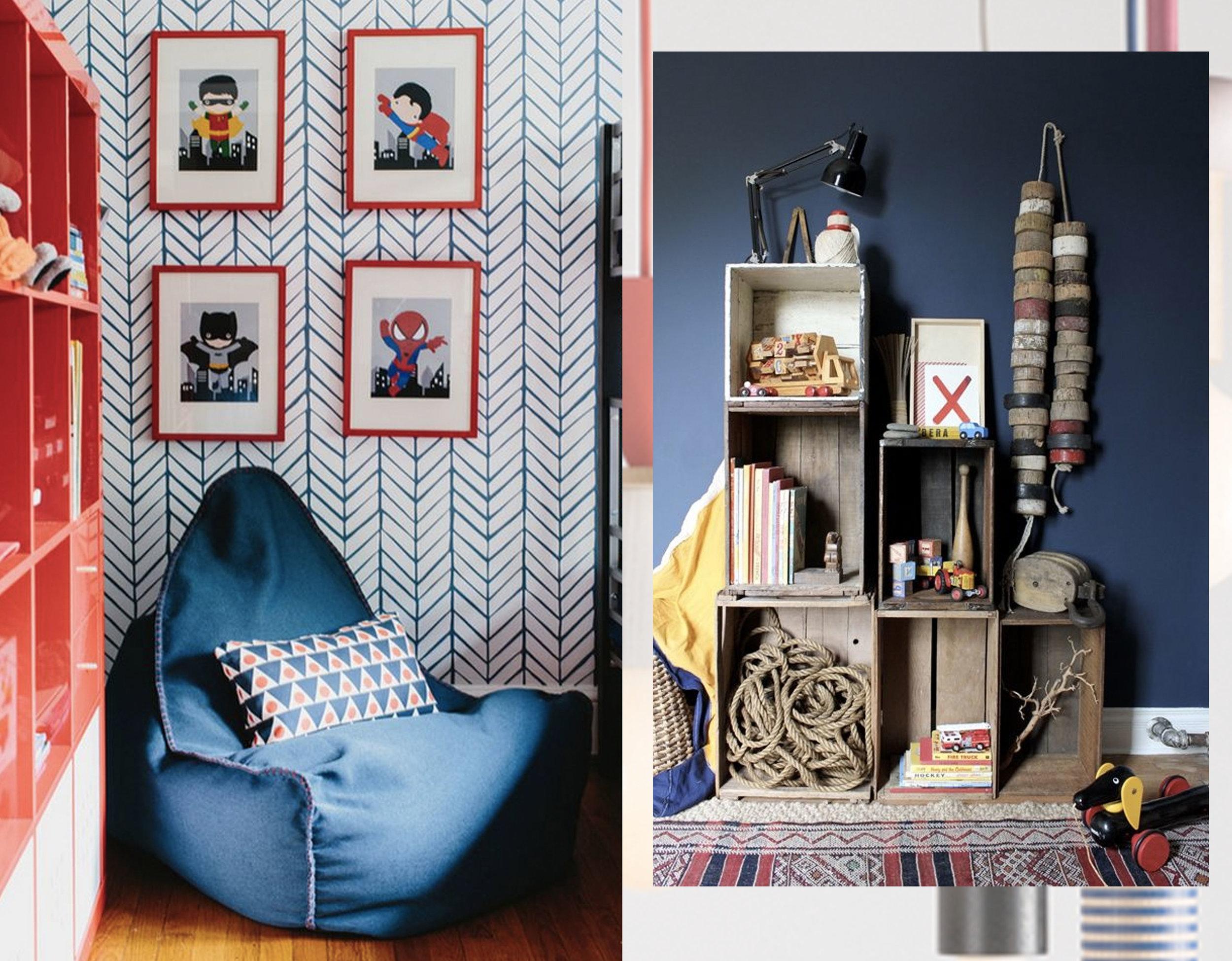 bean bag in kids' room via  Onekindesign  - crate as shelves via  The Marion House