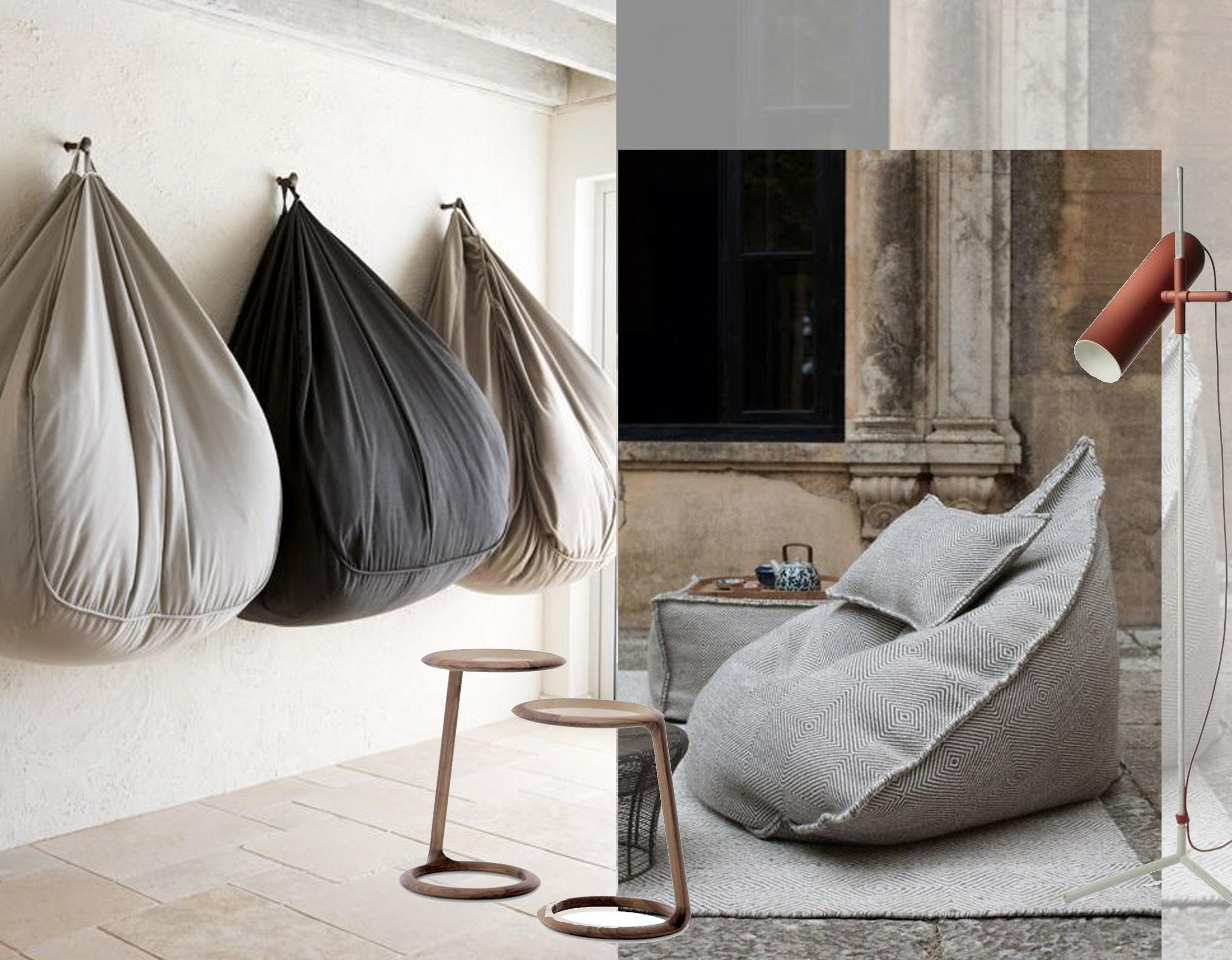 bean bags via  Interior Crisp  - Wander Floor lamp Roche Bobois via  Elle Decor  - Beside You table Ceccotti via  Tolgard